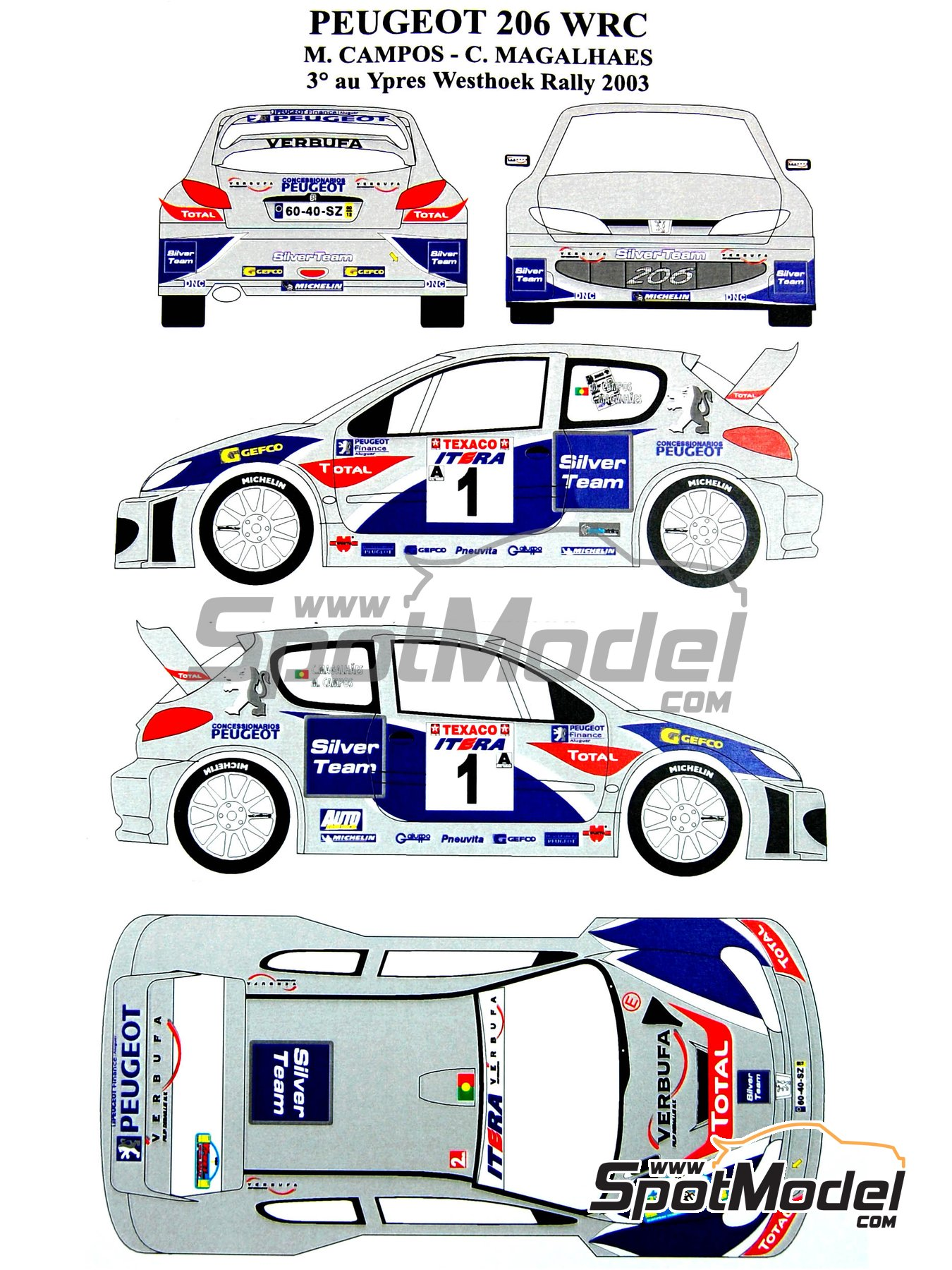 Peugeot 206 WRC Silver Team - Ypres Rally 2003   Marking / livery in 1/24 scale manufactured by Renaissance Models (ref.TK24-165) image