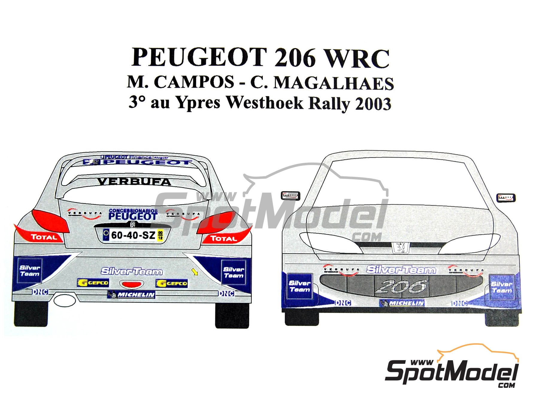 Image 1: Peugeot 206 WRC Silver Team - Ypres Rally 2003   Marking / livery in 1/24 scale manufactured by Renaissance Models (ref.TK24-165)