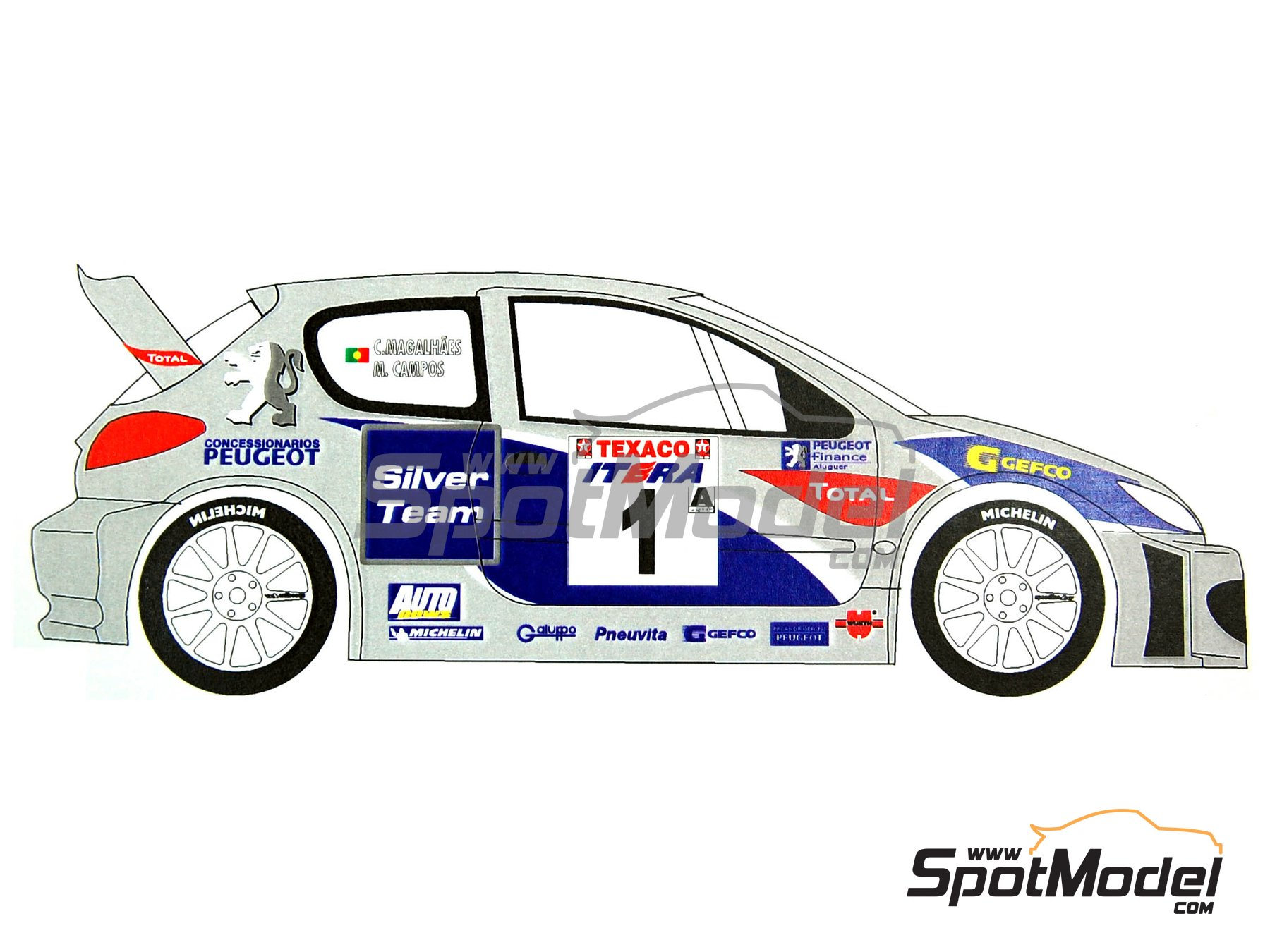 Image 3: Peugeot 206 WRC Silver Team - Ypres Rally 2003   Marking / livery in 1/24 scale manufactured by Renaissance Models (ref.TK24-165)