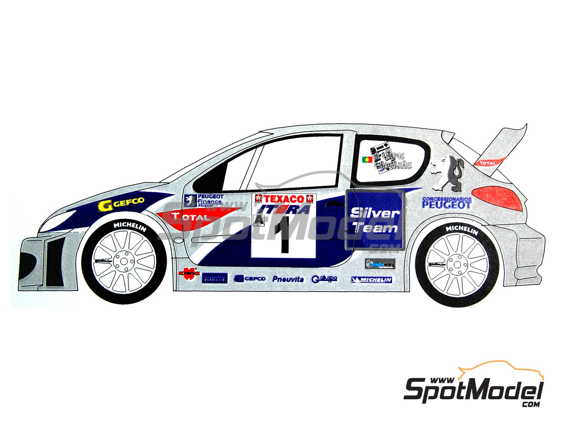 Image 4: Peugeot 206 WRC Silver Team - Ypres Rally 2003   Marking / livery in 1/24 scale manufactured by Renaissance Models (ref.TK24-165)
