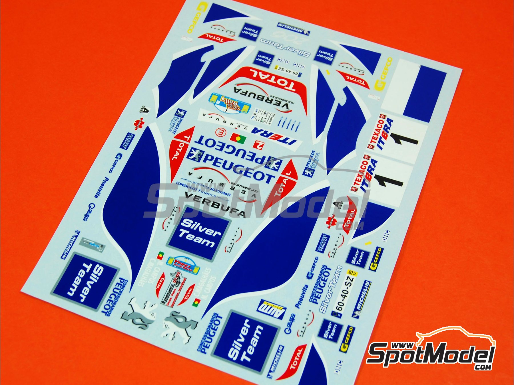 Image 5: Peugeot 206 WRC Silver Team - Ypres Rally 2003   Marking / livery in 1/24 scale manufactured by Renaissance Models (ref.TK24-165)