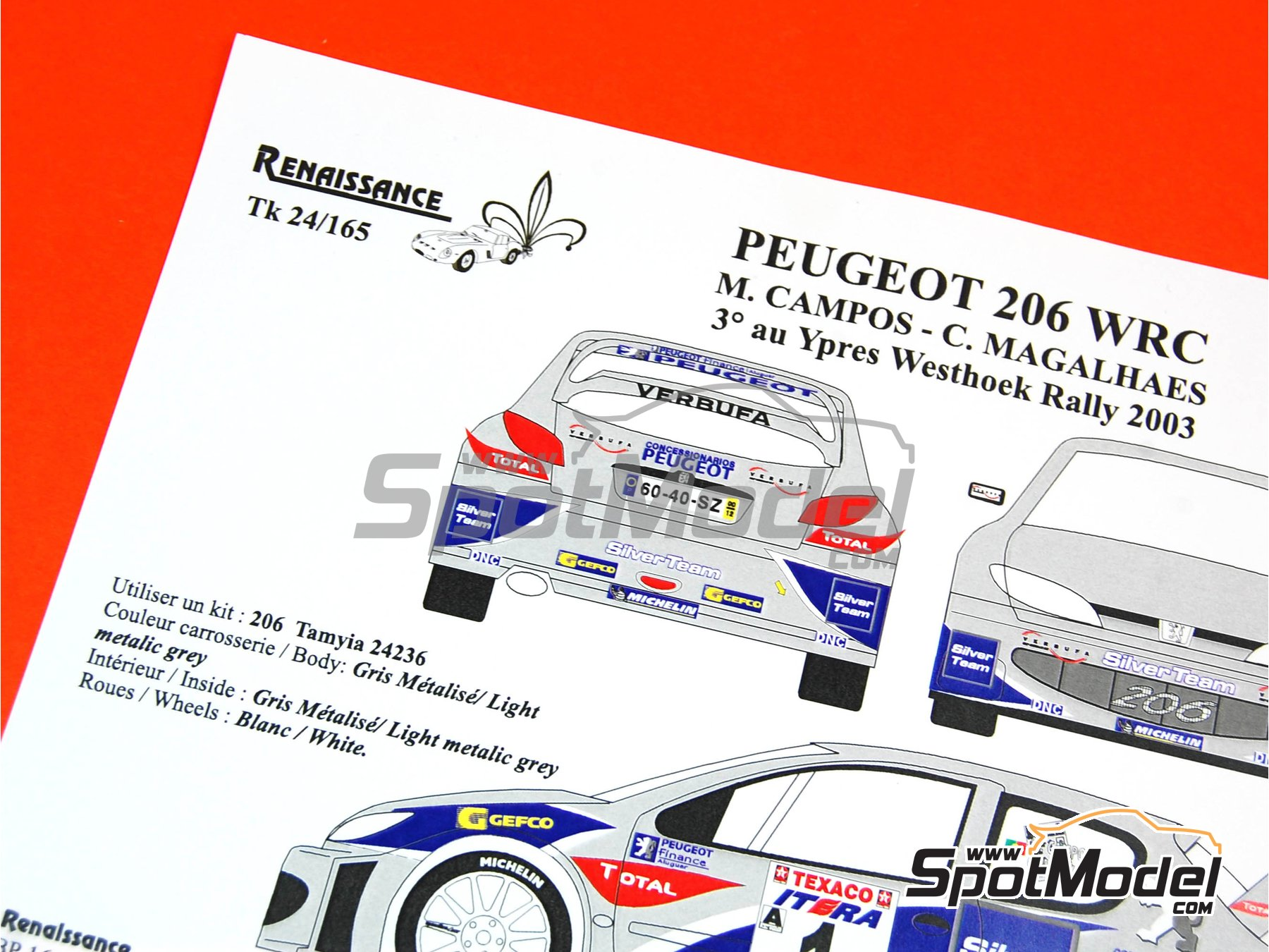 Image 11: Peugeot 206 WRC Silver Team - Ypres Rally 2003   Marking / livery in 1/24 scale manufactured by Renaissance Models (ref.TK24-165)