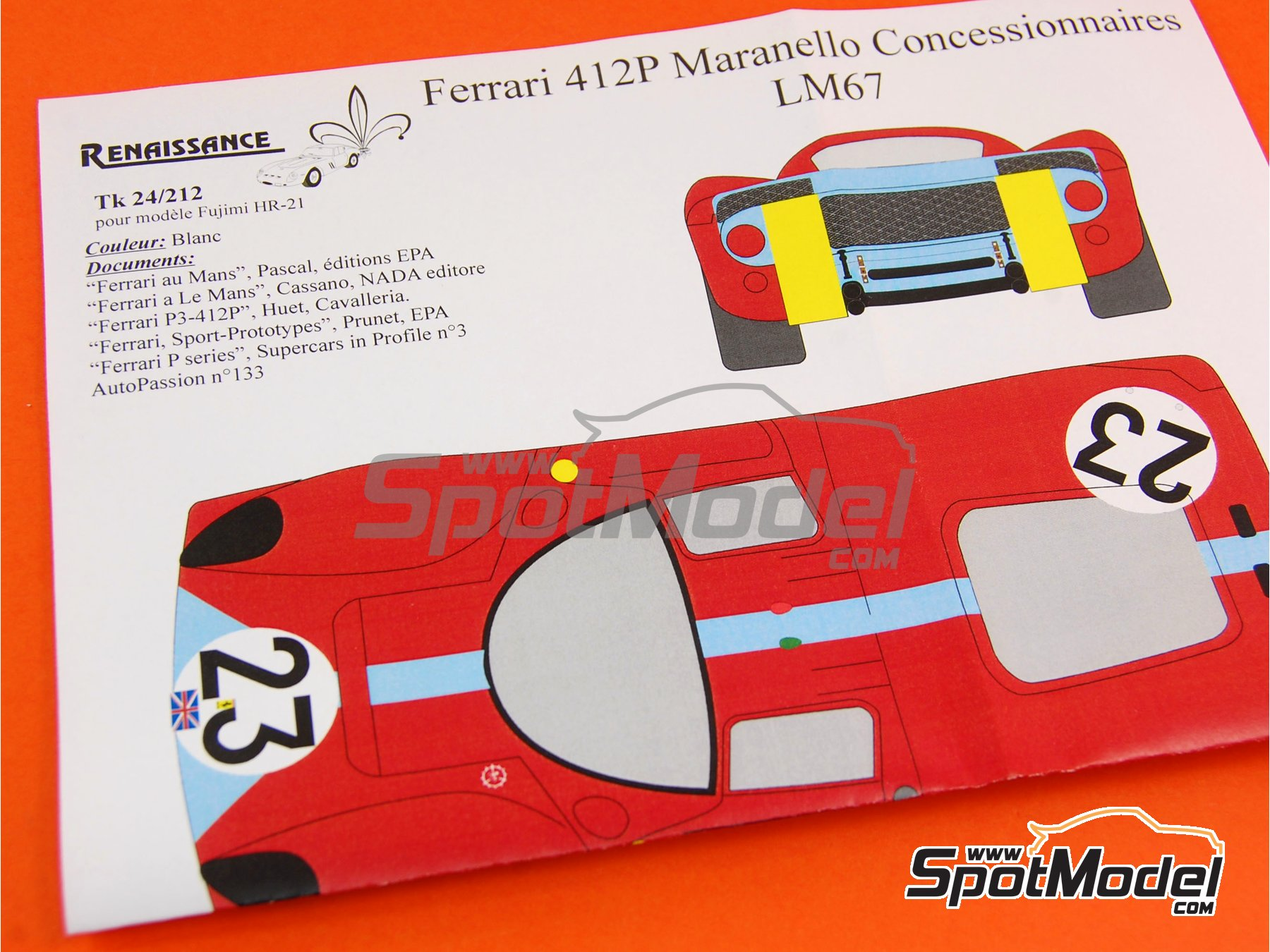 Image 6: Ferrari 412 P Maranello Concessionaires - 24 Horas de Le Mans 1967 | Transkit en escala1/24 fabricado por Renaissance Models (ref.TK24-212)