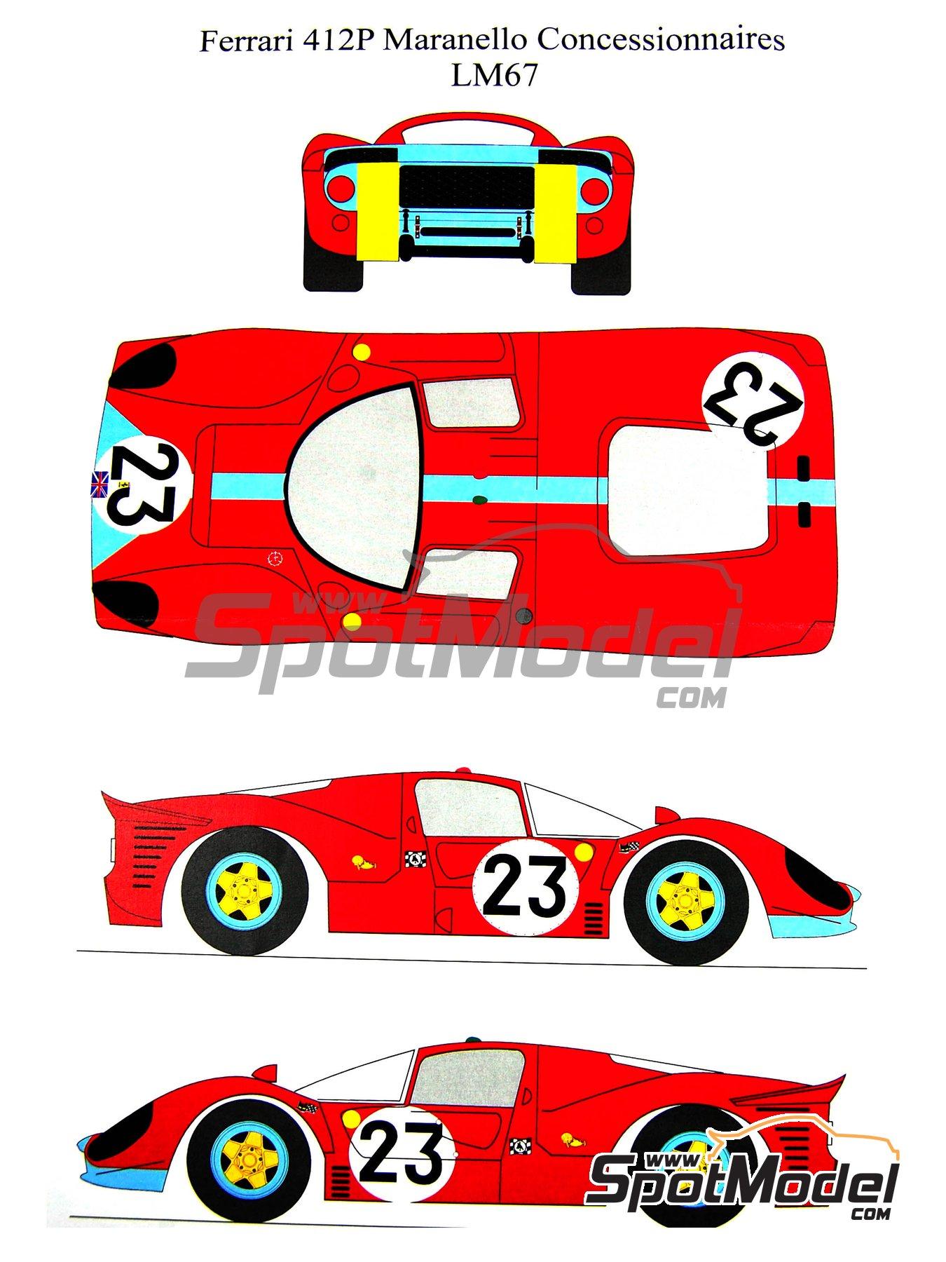 Ferrari 412 P Maranello Concessionaires - 24 Horas de Le Mans 1967 | Decoración en escala1/24 fabricado por Renaissance Models (ref.TK24-212DS) image