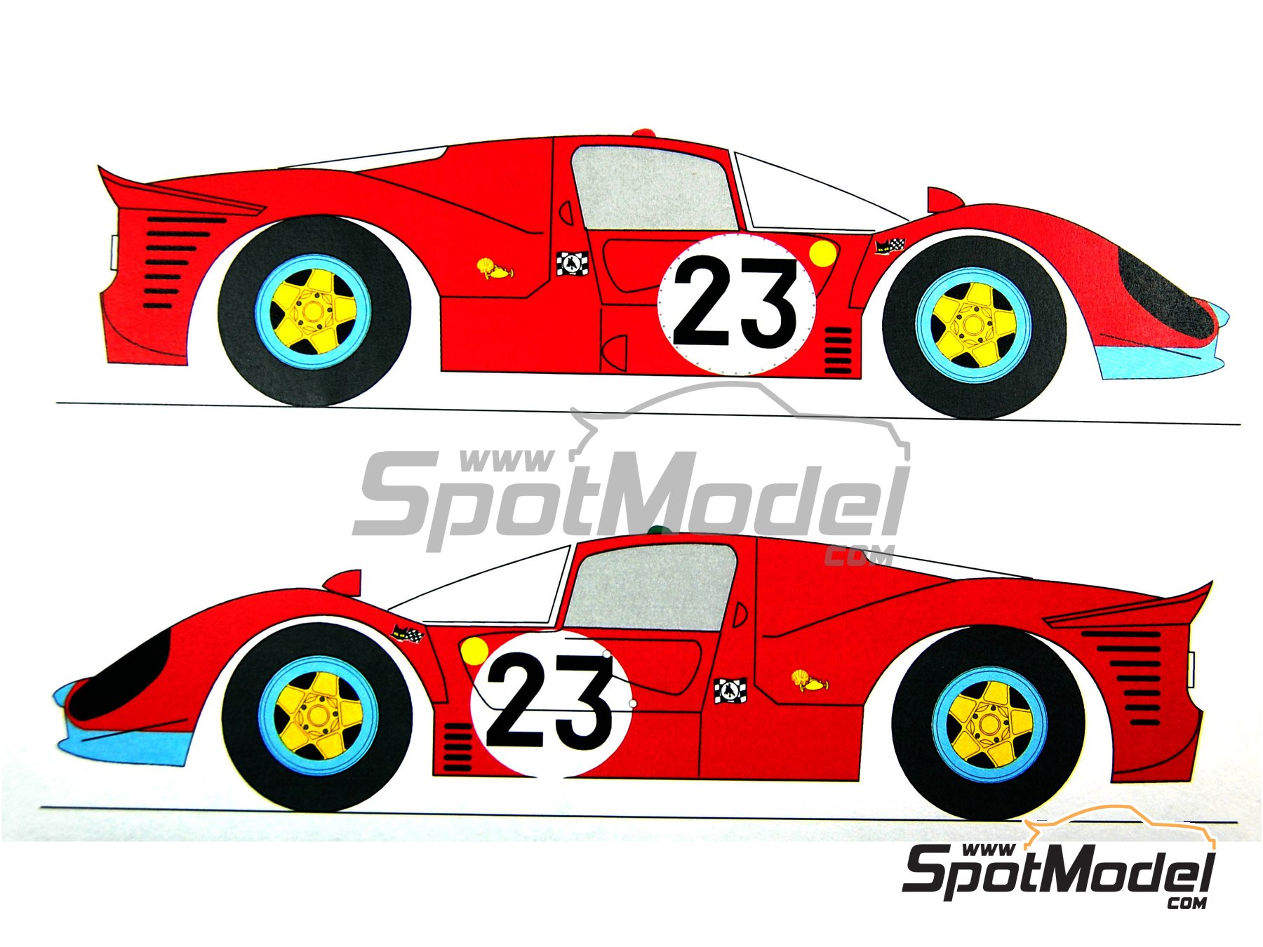 Image 6: Ferrari 412 P Maranello Concessionaires - 24 Horas de Le Mans 1967 | Decoración en escala1/24 fabricado por Renaissance Models (ref.TK24-212DS)