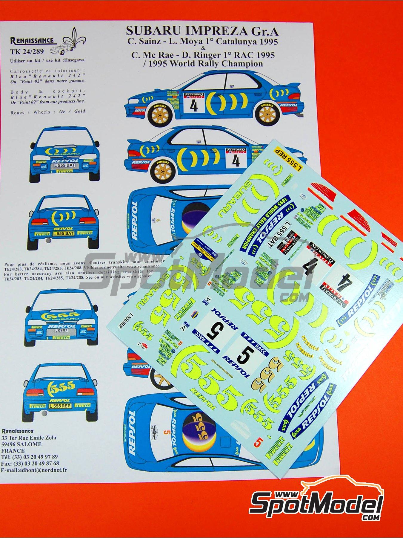 Subaru Impreza 555 Grupo A Repsol - Rally de Cataluña Costa Dorada RACC, Rally de Inglaterra RAC 1995 | Decoración en escala1/24 fabricado por Renaissance Models (ref.TK24-289) image