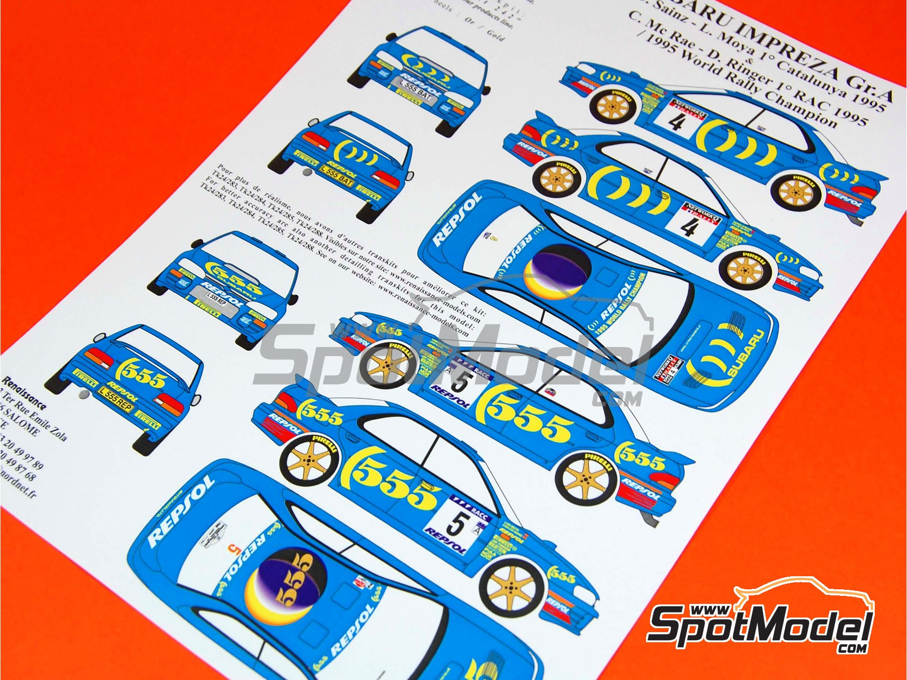 Image 1: Subaru Impreza 555 Group A Repsol - Catalunya Costa Dorada RACC Rally, Great Britain RAC Rally 1995 | Marking / livery in 1/24 scale manufactured by Renaissance Models (ref. TK24-289)