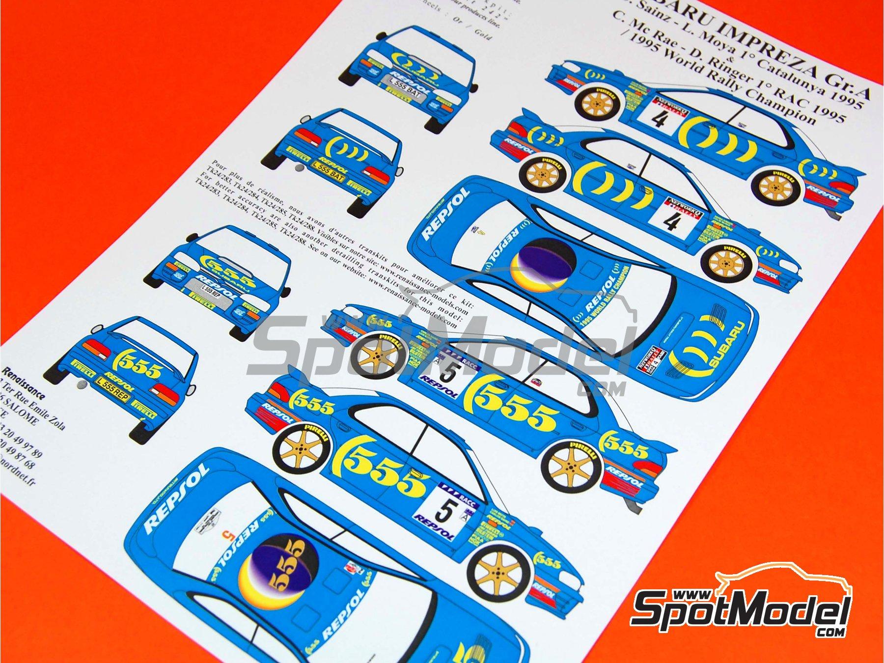Image 1: Subaru Impreza 555 Grupo A Repsol - Rally de Cataluña Costa Dorada RACC, Rally de Inglaterra RAC 1995 | Decoración en escala1/24 fabricado por Renaissance Models (ref.TK24-289)