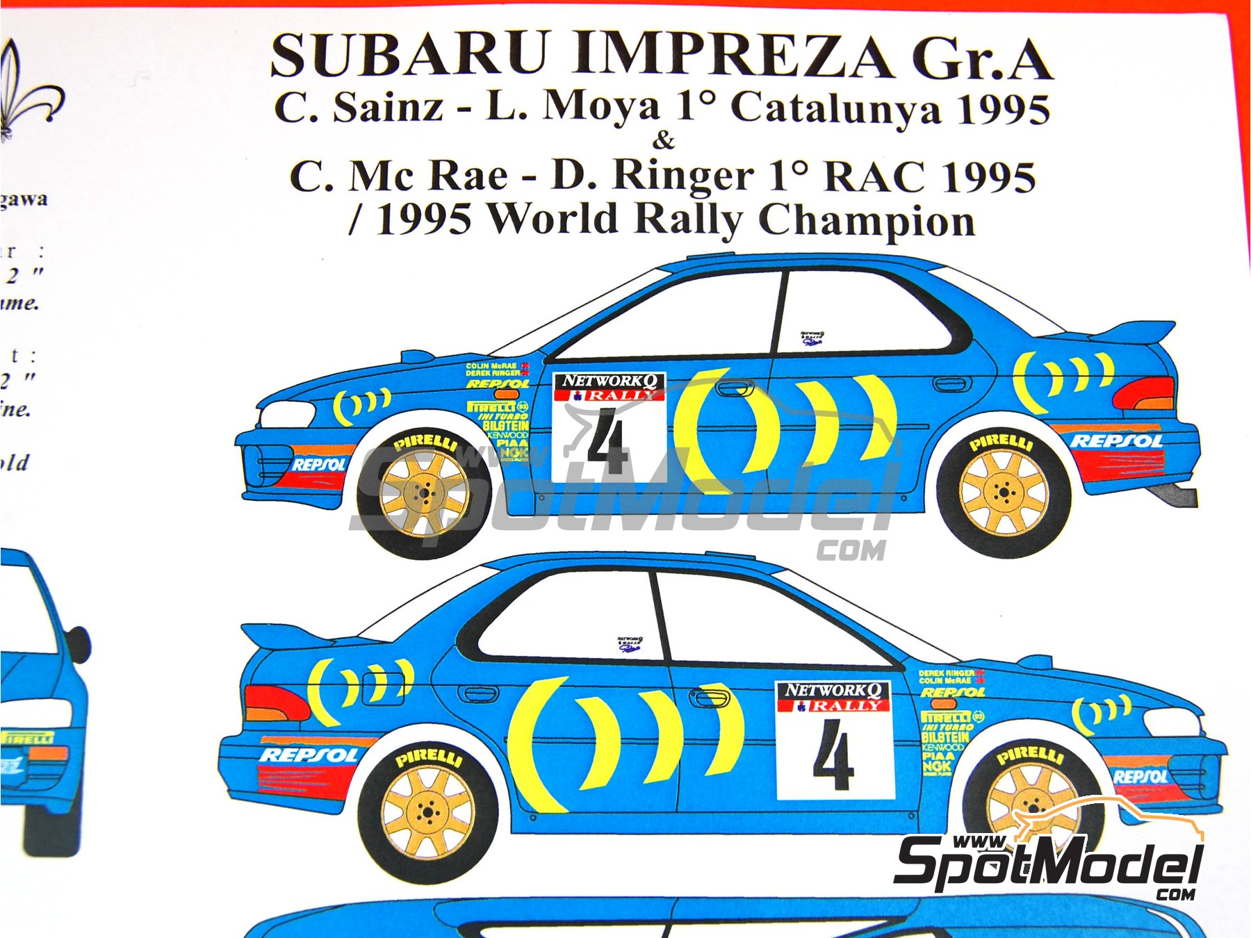 Image 2: Subaru Impreza 555 Group A Repsol - Catalunya Costa Dorada RACC Rally, RAC Rally 1995 | Marking / livery in 1/24 scale manufactured by Renaissance Models (ref. TK24-289)