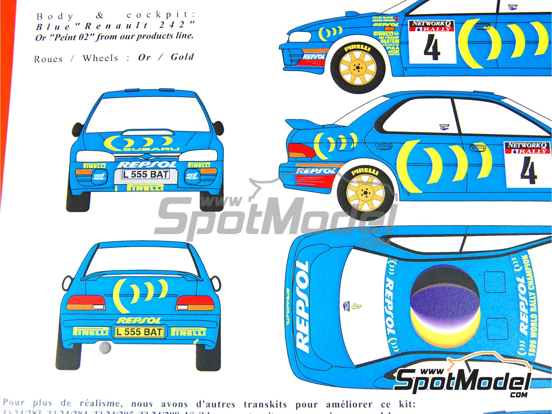 Image 3: Subaru Impreza 555 Group A - Catalunya Costa Dorada RACC Rally, RAC Rally 1995 | Marking / livery in 1/24 scale manufactured by Renaissance Models (ref.TK24-289)
