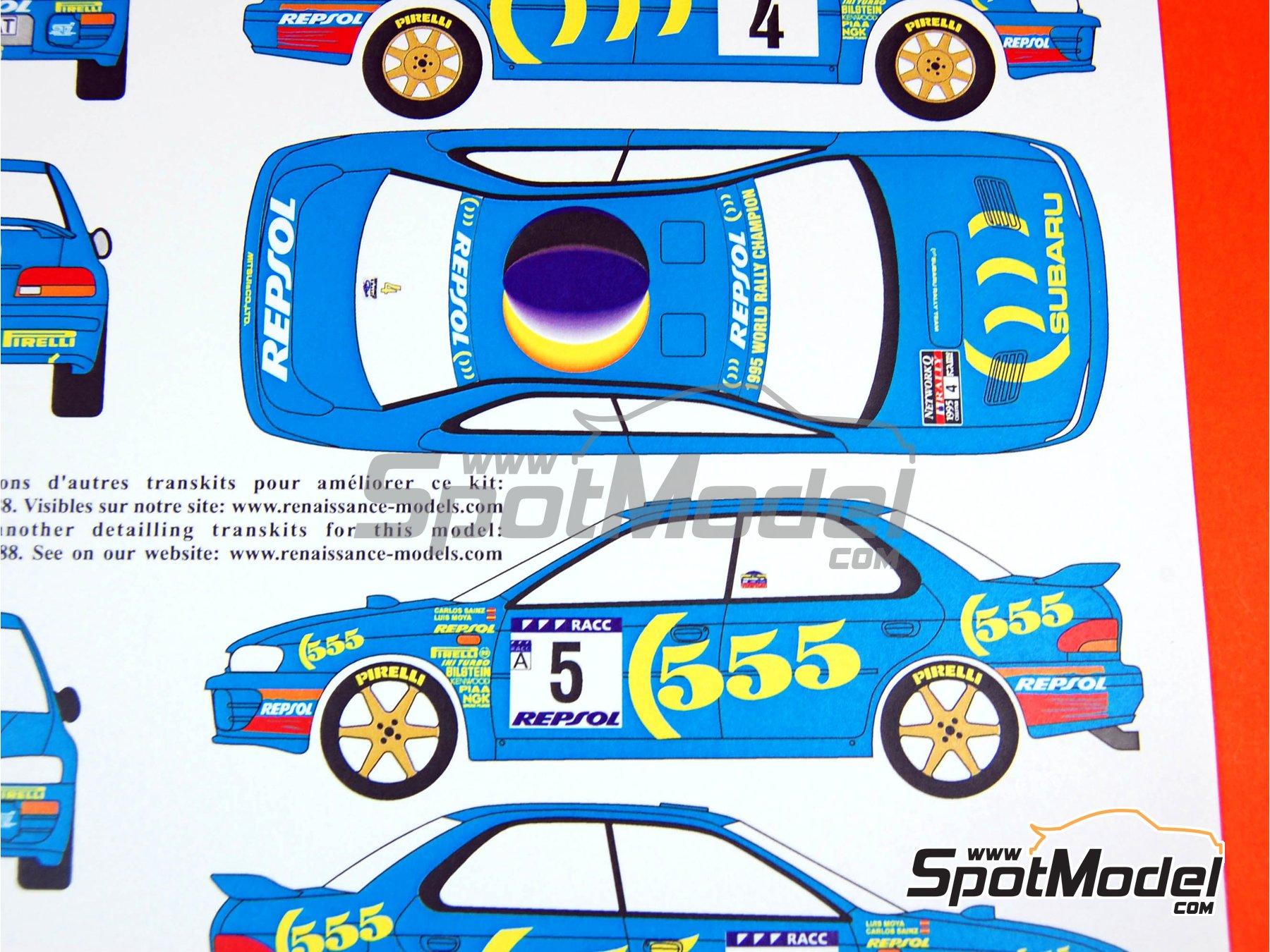Image 4: Subaru Impreza 555 Group A - Catalunya Costa Dorada RACC Rally, RAC Rally 1995 | Marking / livery in 1/24 scale manufactured by Renaissance Models (ref.TK24-289)