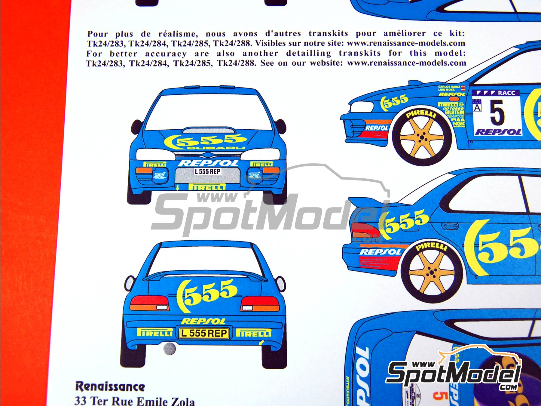 Image 5: Subaru Impreza 555 Group A - Catalunya Costa Dorada RACC Rally, RAC Rally 1995 | Marking / livery in 1/24 scale manufactured by Renaissance Models (ref.TK24-289)