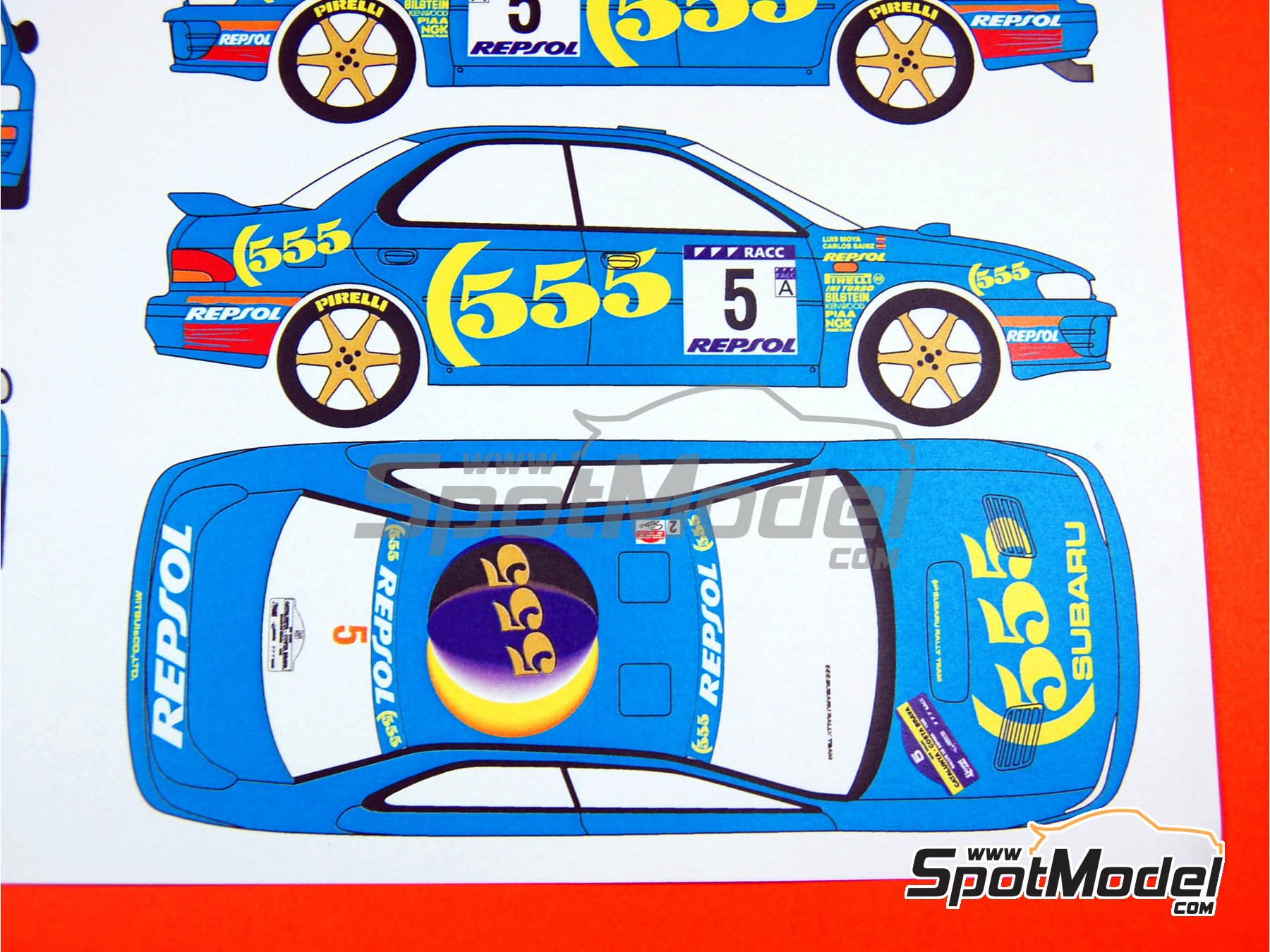 Image 6: Subaru Impreza 555 Grupo A Repsol - Rally de Cataluña Costa Dorada RACC, Rally de Inglaterra RAC 1995 | Decoración en escala1/24 fabricado por Renaissance Models (ref.TK24-289)