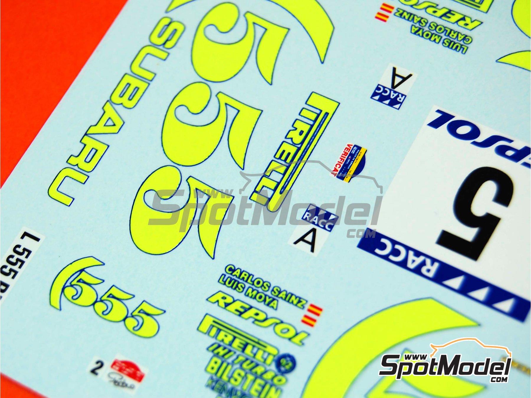 Image 8: Subaru Impreza 555 Group A - Catalunya Costa Dorada RACC Rally, RAC Rally 1995 | Marking / livery in 1/24 scale manufactured by Renaissance Models (ref.TK24-289)