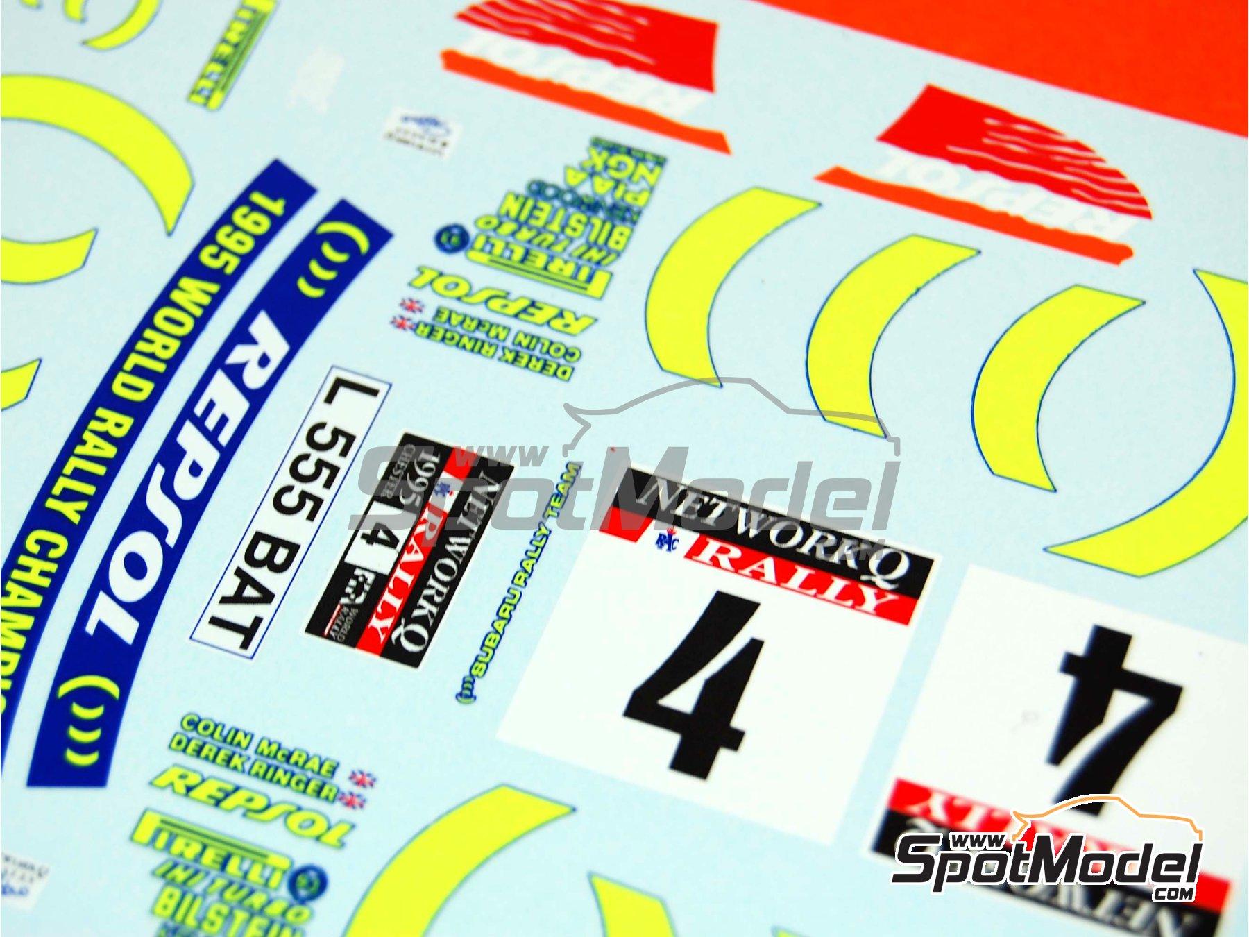 Image 10: Subaru Impreza 555 Group A - Catalunya Costa Dorada RACC Rally, RAC Rally 1995 | Marking / livery in 1/24 scale manufactured by Renaissance Models (ref.TK24-289)