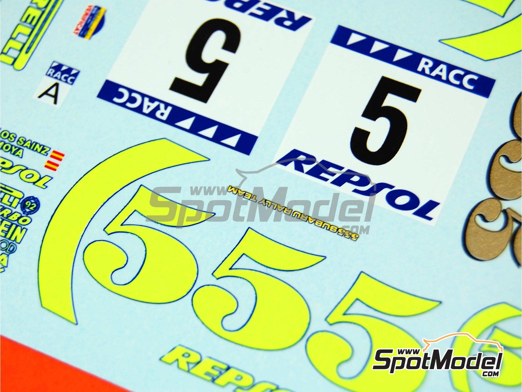 Image 15: Subaru Impreza 555 Grupo A Repsol - Rally de Cataluña Costa Dorada RACC, Rally de Inglaterra RAC 1995 | Decoración en escala1/24 fabricado por Renaissance Models (ref.TK24-289)