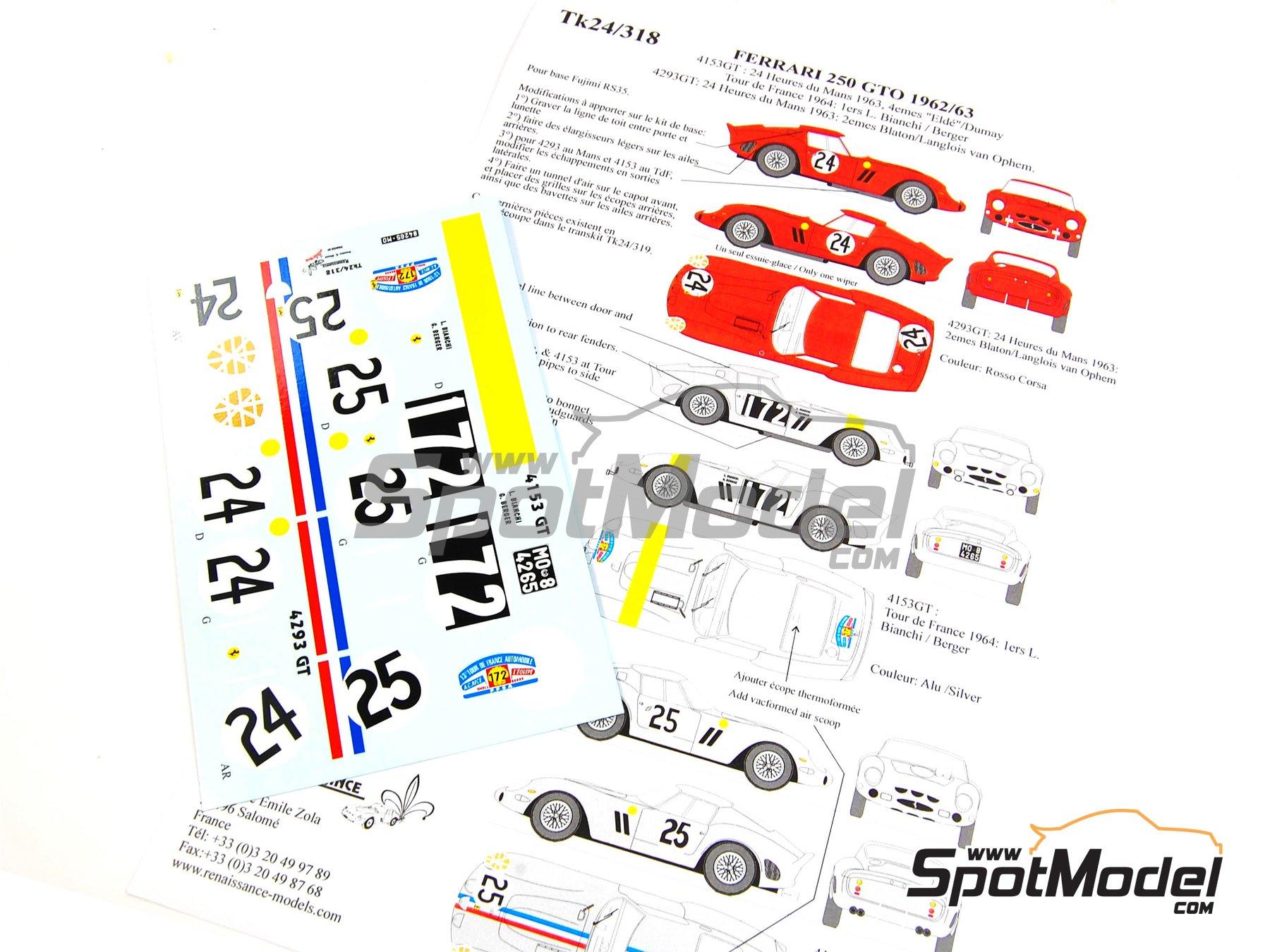 Image 1: Ferrari 250 GTO - 24 Horas de Le Mans, Tour de France Automobile 1963 y 1964 | Decoración en escala1/24 fabricado por Renaissance Models (ref.TK24-318)