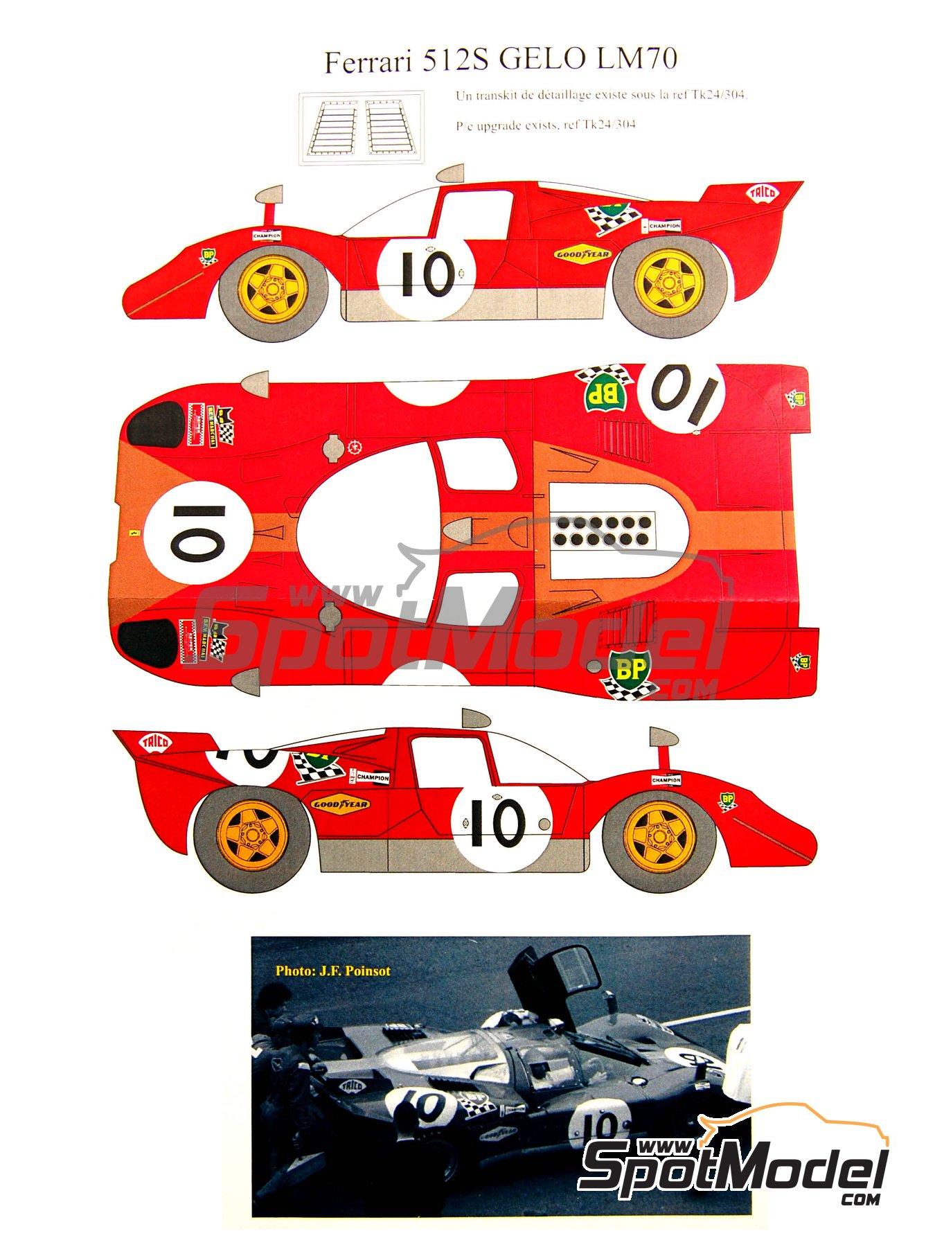 Ferrari 512S Gelo Racing Team - 24 Horas de Le Mans 1970 | Decoración en escala1/24 fabricado por Renaissance Models (ref.TK24-320D) image