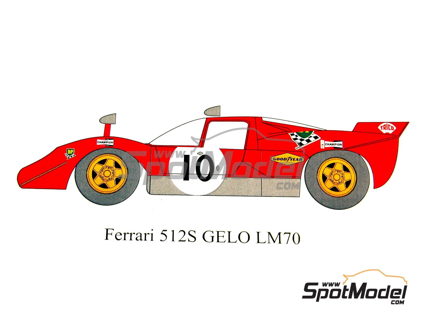 Image 1: Ferrari 512S Gelo Racing Team - 24 Horas de Le Mans 1970 | Decoración en escala1/24 fabricado por Renaissance Models (ref.TK24-320D)