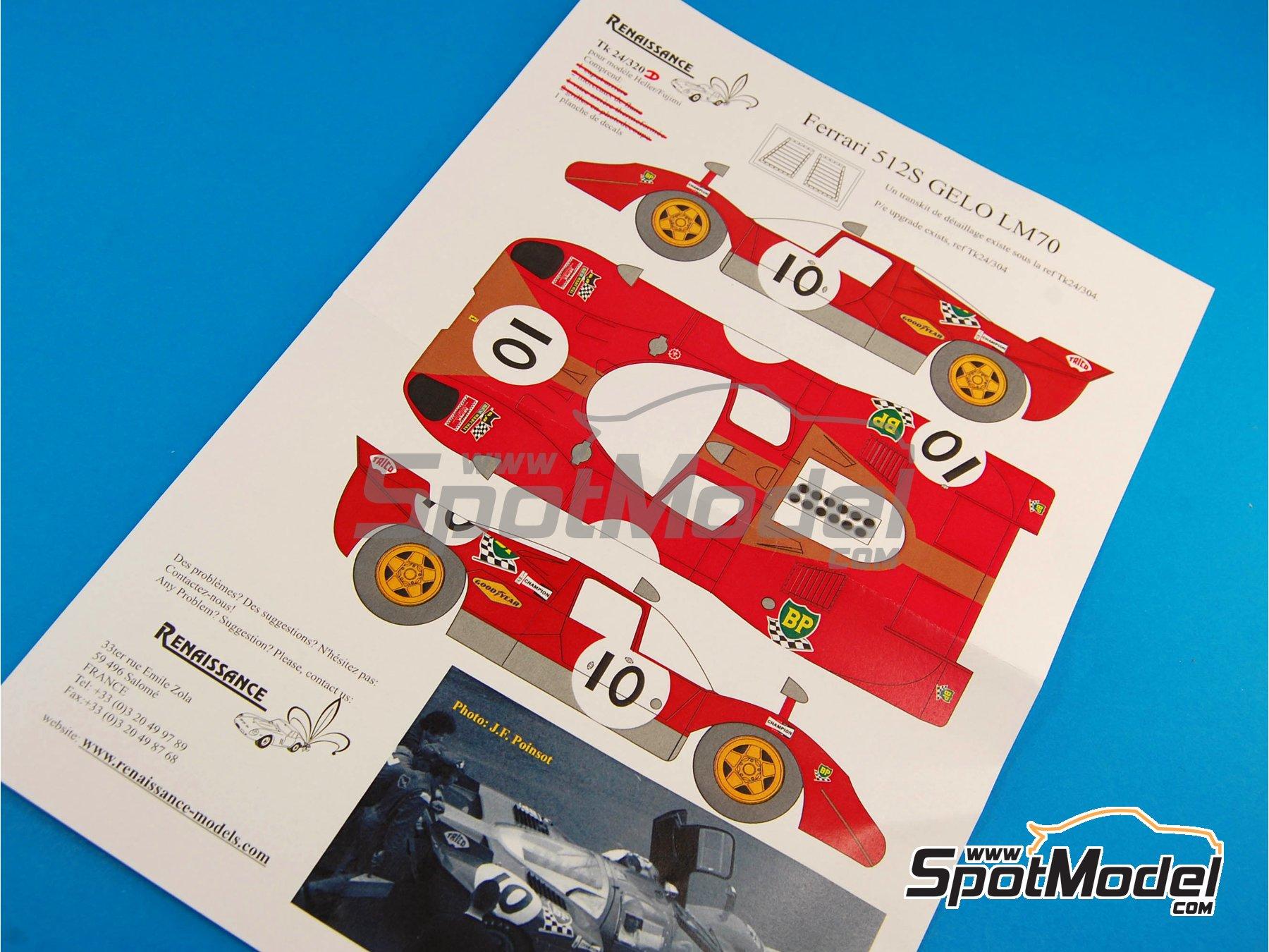 Image 4: Ferrari 512S Gelo Racing Team - 24 Horas de Le Mans 1970 | Decoración en escala1/24 fabricado por Renaissance Models (ref.TK24-320D)