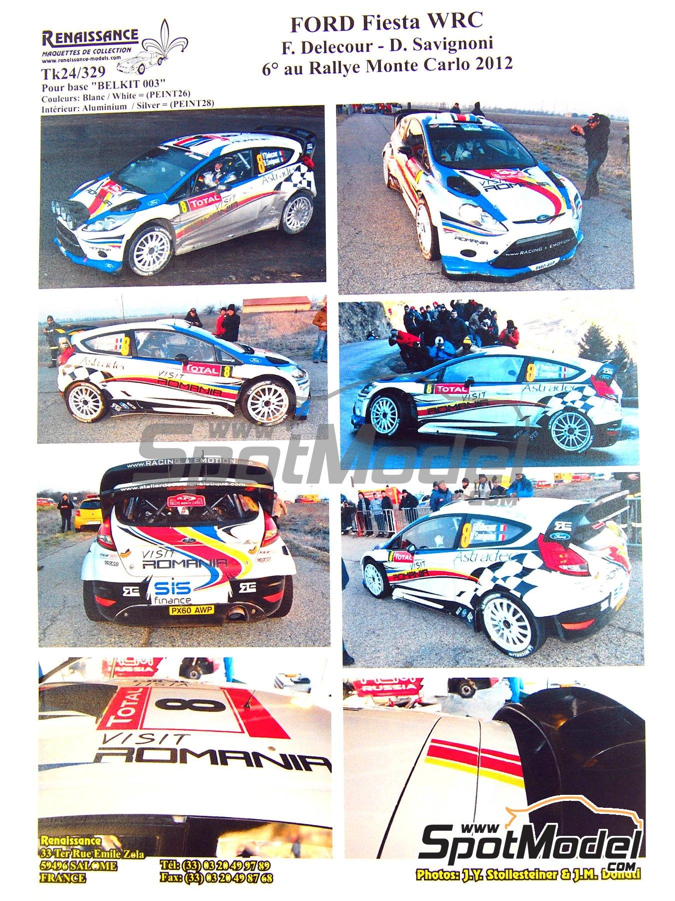 Ford Fiesta WRC Romania - Rally de Montecarlo 2012 | Calcas de agua en escala1/24 fabricado por Renaissance Models (ref.TK24-329) image