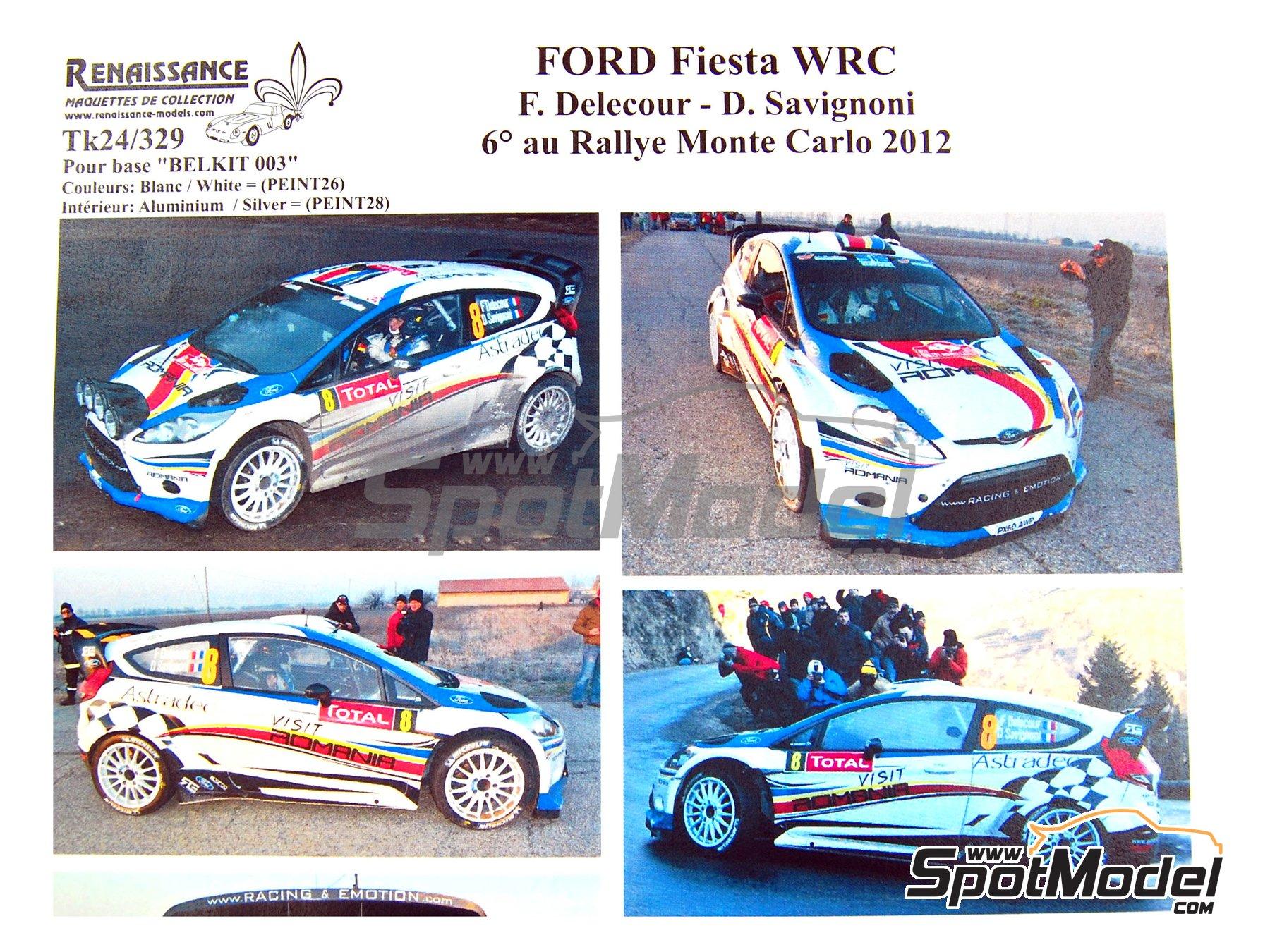 Image 1: Ford Fiesta WRC Romania - Rally de Montecarlo 2012 | Calcas de agua en escala1/24 fabricado por Renaissance Models (ref.TK24-329)