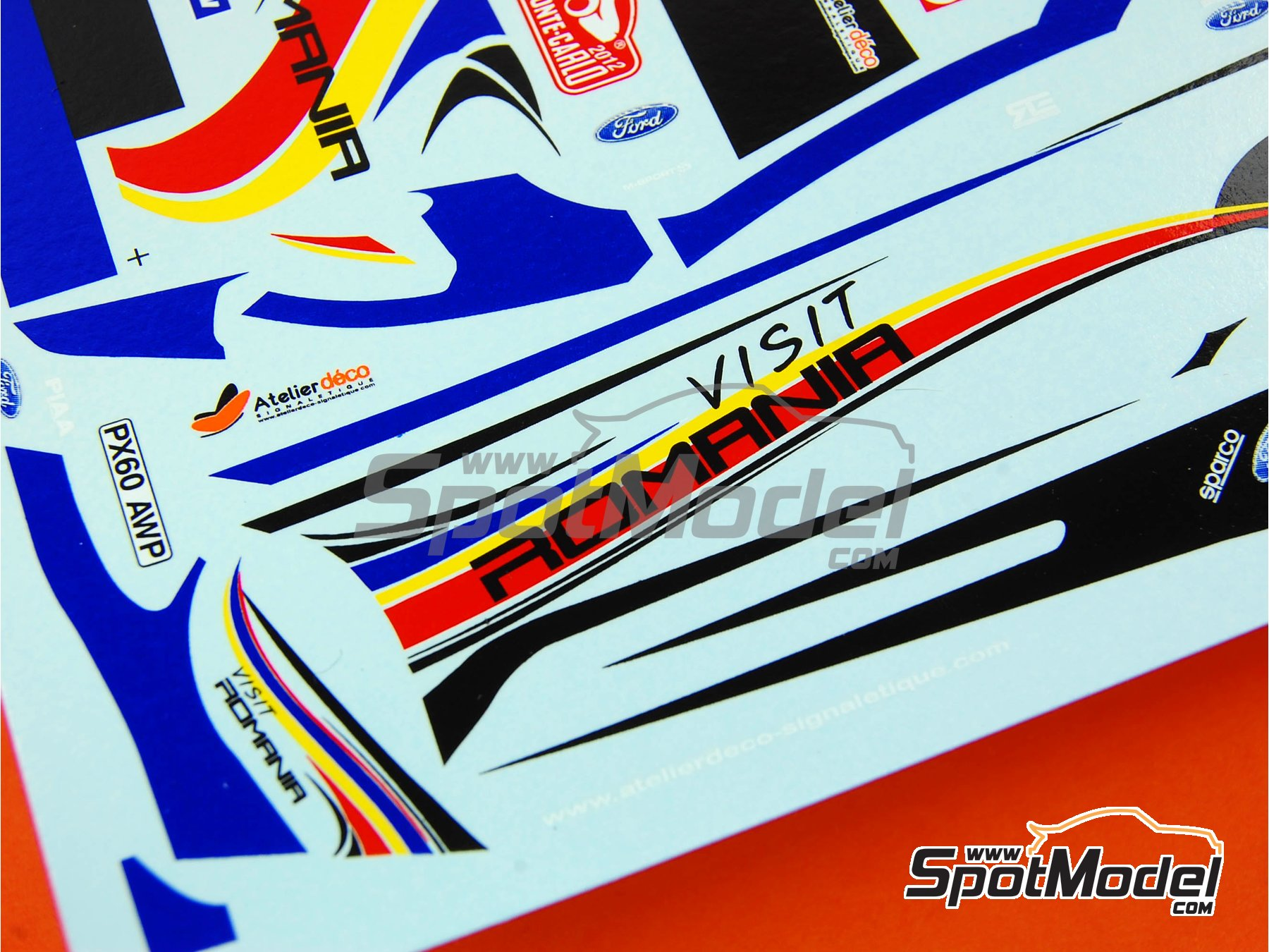 Image 6: Ford Fiesta WRC Romania - Rally de Montecarlo 2012 | Calcas de agua en escala1/24 fabricado por Renaissance Models (ref.TK24-329)