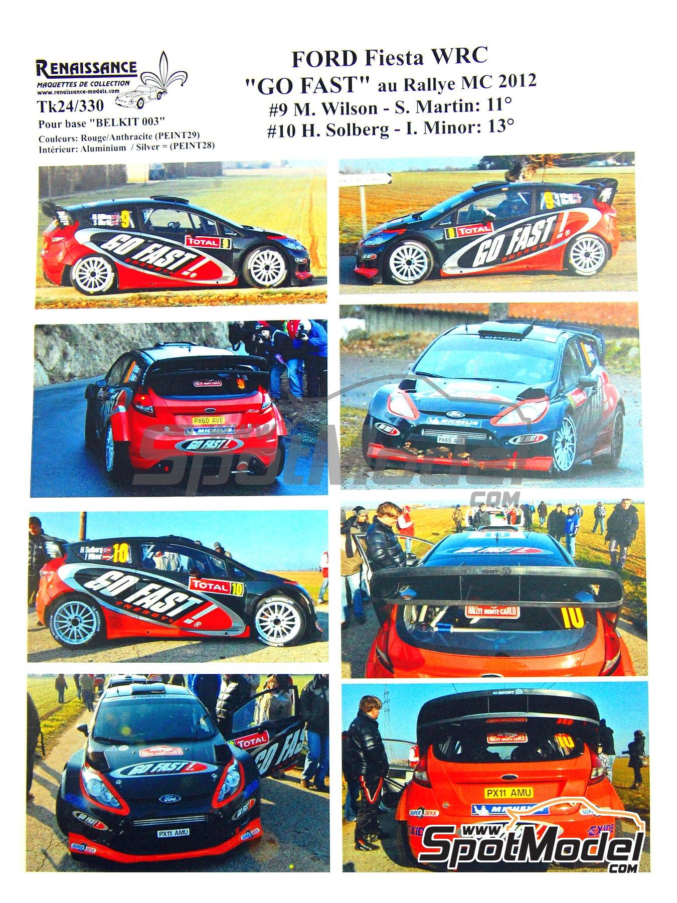 Ford Fiesta WRC Go Fast! - Rally de Montecarlo 2012 | Calcas de agua en escala1/24 fabricado por Renaissance Models (ref.TK24-330) image