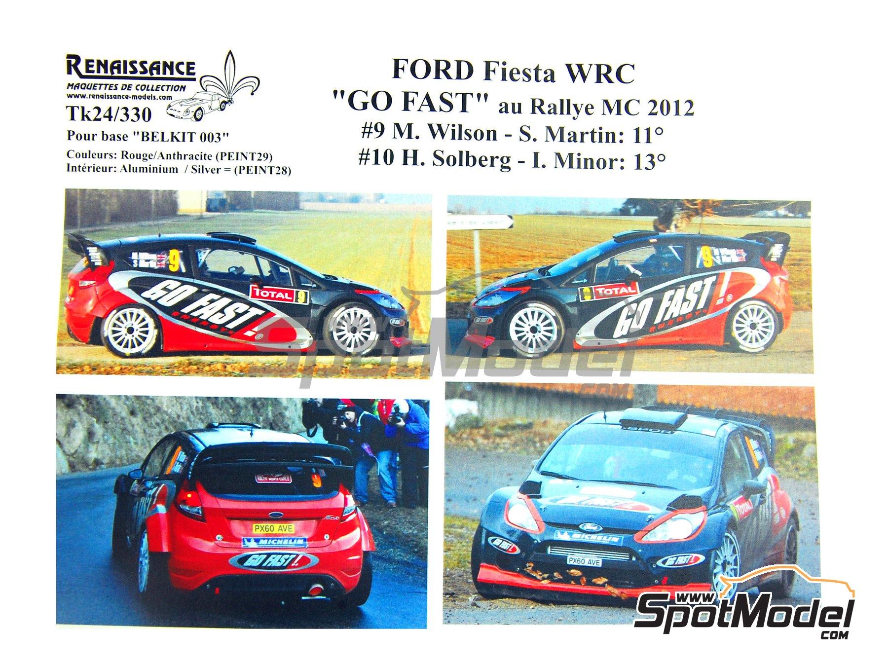 Image 1: Ford Fiesta WRC Go Fast! - Rally de Montecarlo 2012 | Calcas de agua en escala1/24 fabricado por Renaissance Models (ref.TK24-330)