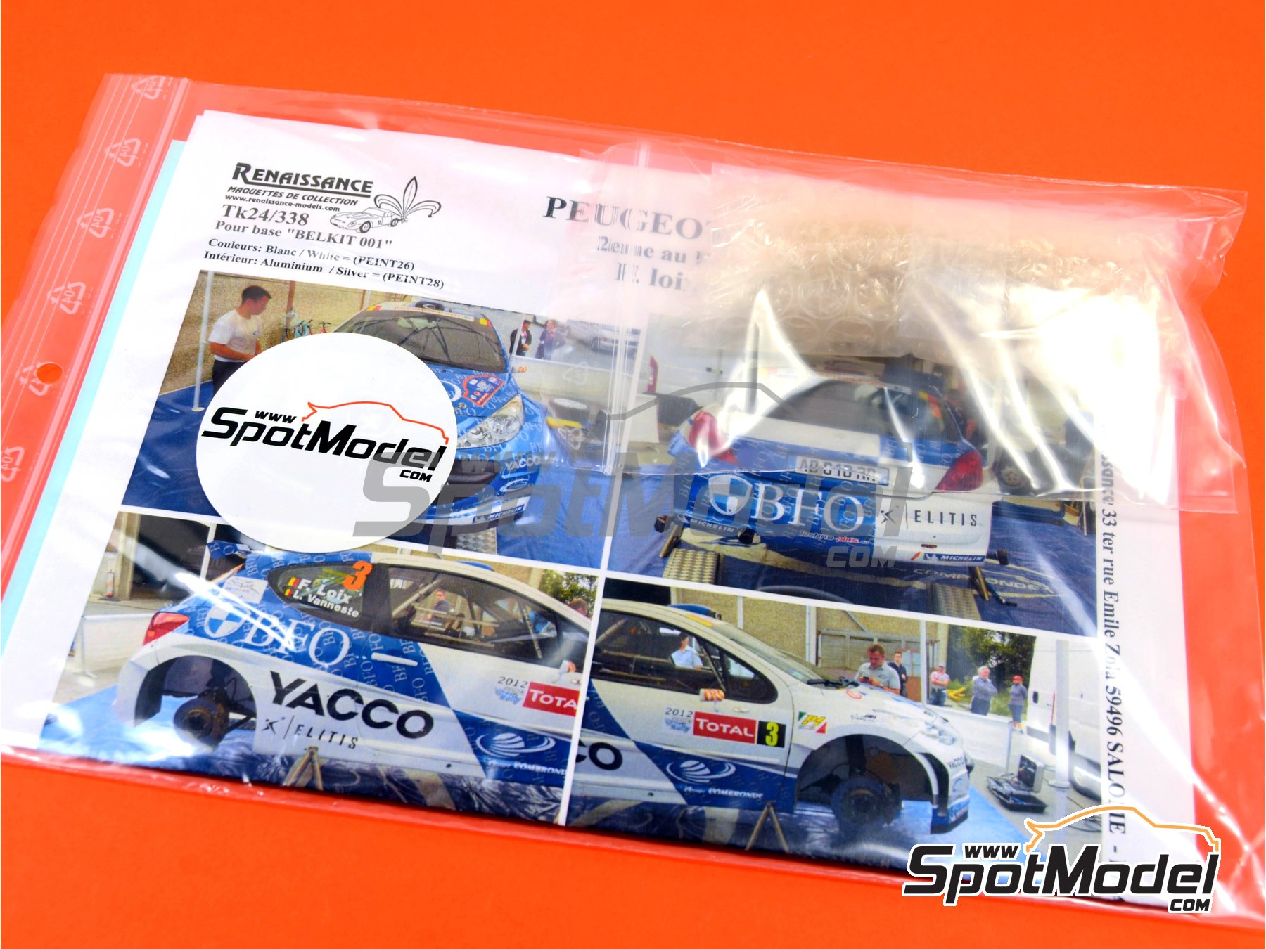 Image 1: Peugeot 207 S2000 BFO Yacco - Ypres Rally 2012 | Marking / livery in 1/24 scale manufactured by Renaissance Models (ref. TK24-338)