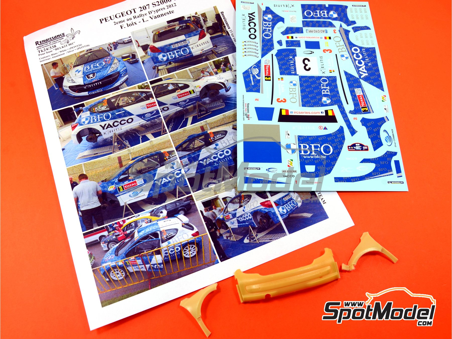 Image 11: Peugeot 207 S2000 BFO Yacco - Ypres Rally 2012 | Marking / livery in 1/24 scale manufactured by Renaissance Models (ref. TK24-338)