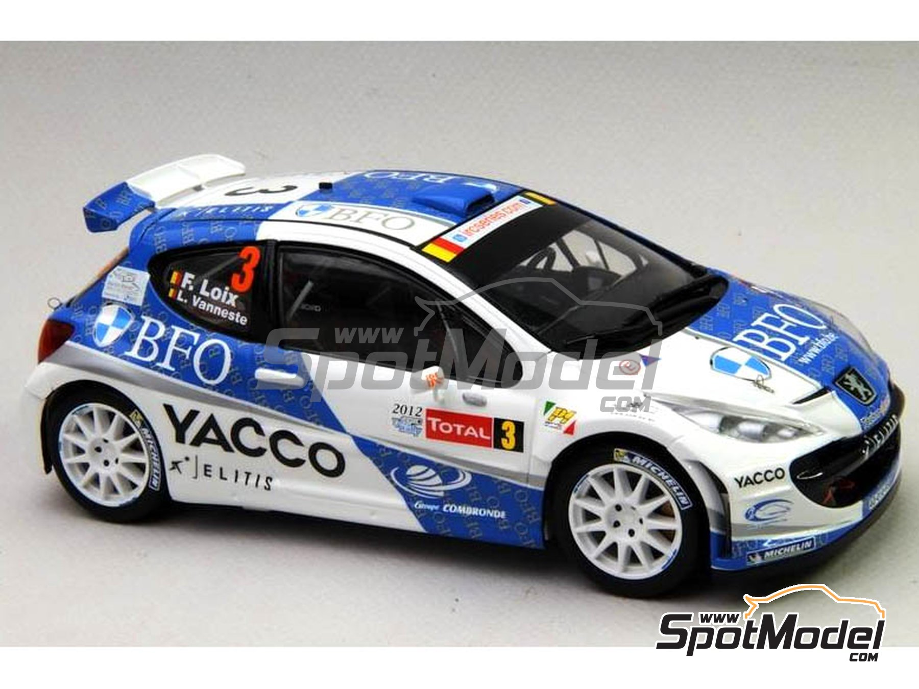 Image 12: Peugeot 207 S2000 BFO Yacco - Ypres Rally 2012 | Marking / livery in 1/24 scale manufactured by Renaissance Models (ref. TK24-338)