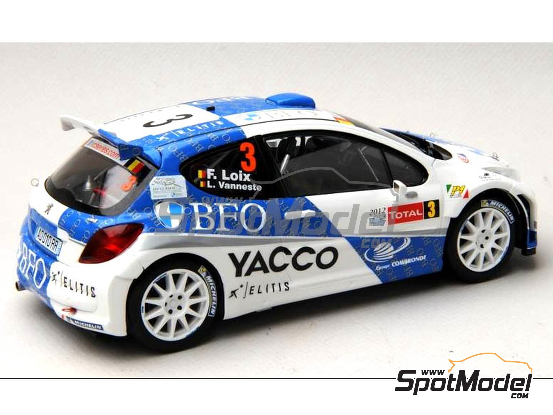 Image 13: Peugeot 207 S2000 BFO Yacco - Ypres Rally 2012 | Marking / livery in 1/24 scale manufactured by Renaissance Models (ref. TK24-338)