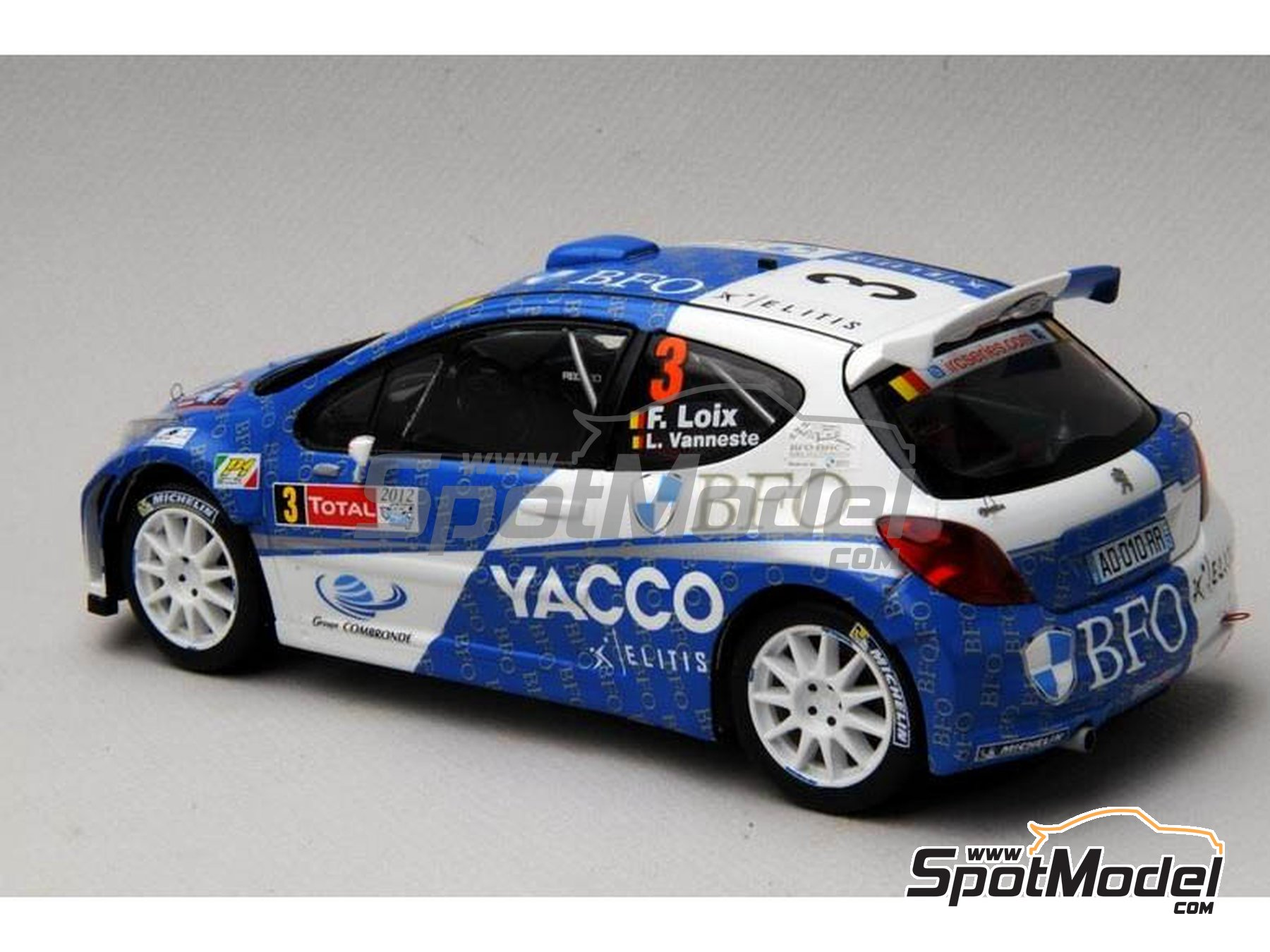 Image 14: Peugeot 207 S2000 BFO Yacco - Ypres Rally 2012 | Marking / livery in 1/24 scale manufactured by Renaissance Models (ref. TK24-338)