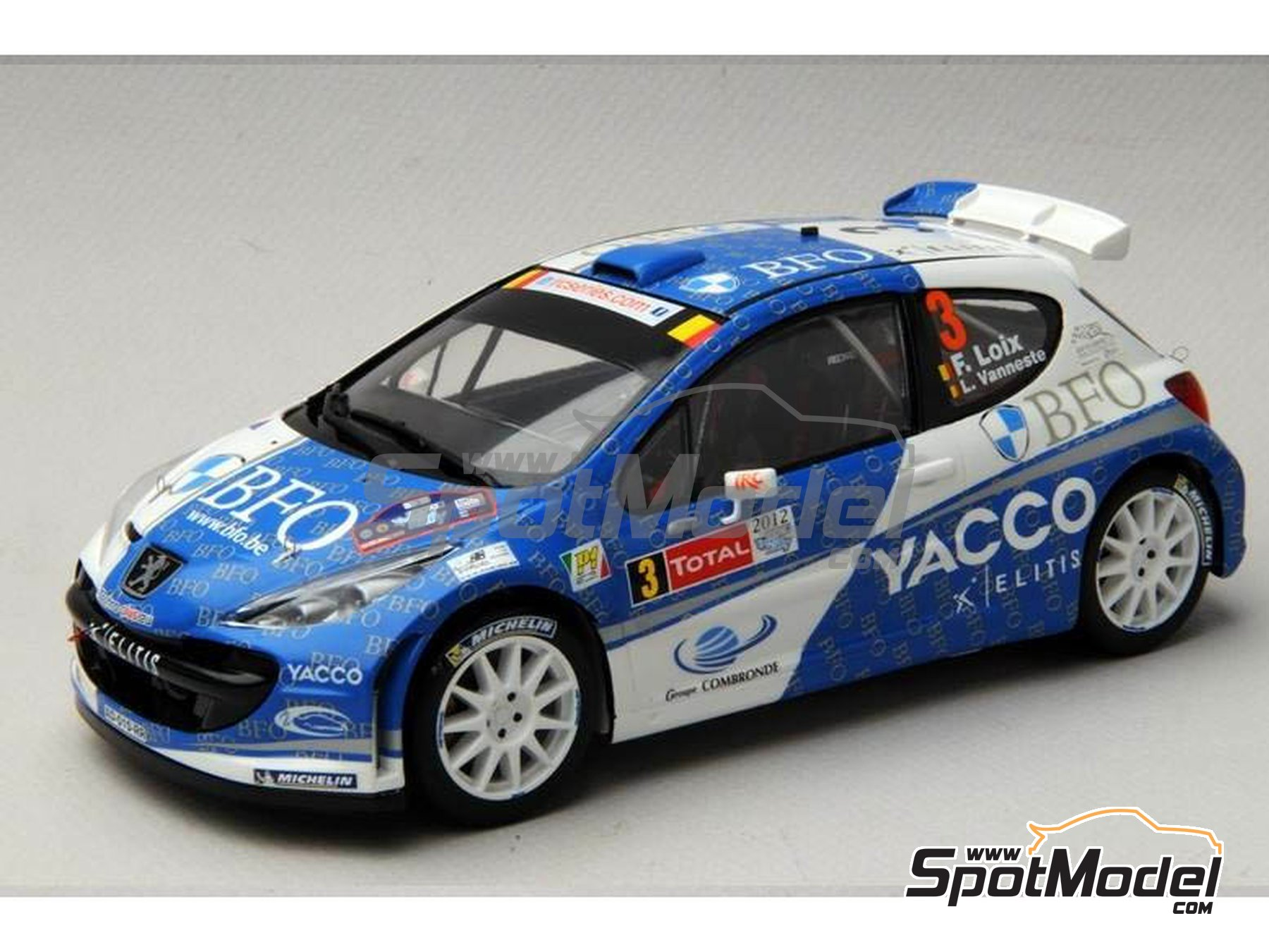 Image 15: Peugeot 207 S2000 BFO Yacco - Ypres Rally 2012 | Marking / livery in 1/24 scale manufactured by Renaissance Models (ref. TK24-338)