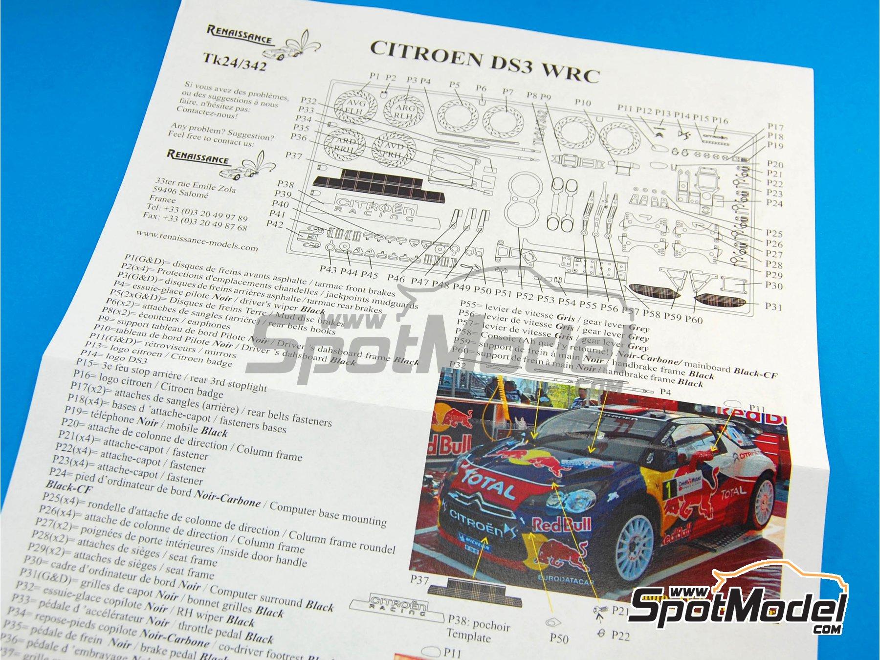 Image 3: Citroen DS3 WRC   Set de mejora y detallado en escala1/24 fabricado por Renaissance Models (ref.TK24-342)