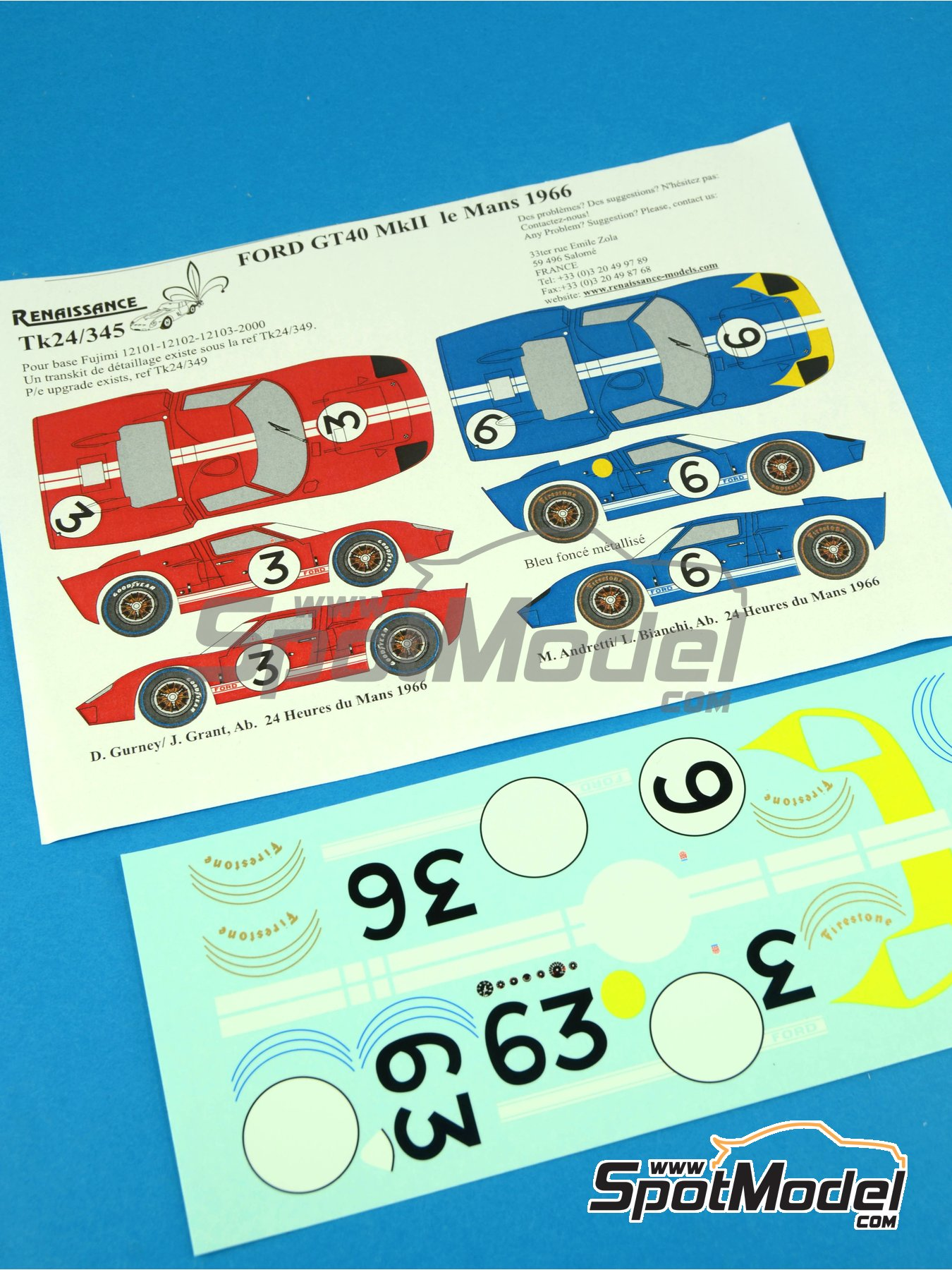 Ford GT40 Mk II - 24 Hours Le Mans 1966 | Marking / livery in 1/24 scale manufactured by Renaissance Models (ref.TK24-345) image