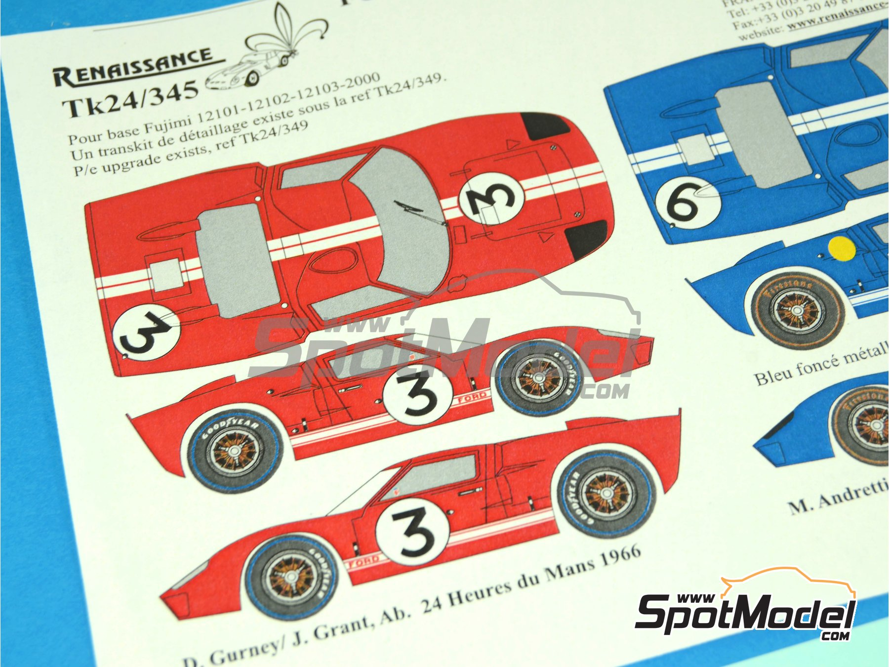 Image 2: Ford GT40 Mk II - 24 Hours Le Mans 1966 | Marking / livery in 1/24 scale manufactured by Renaissance Models (ref.TK24-345)