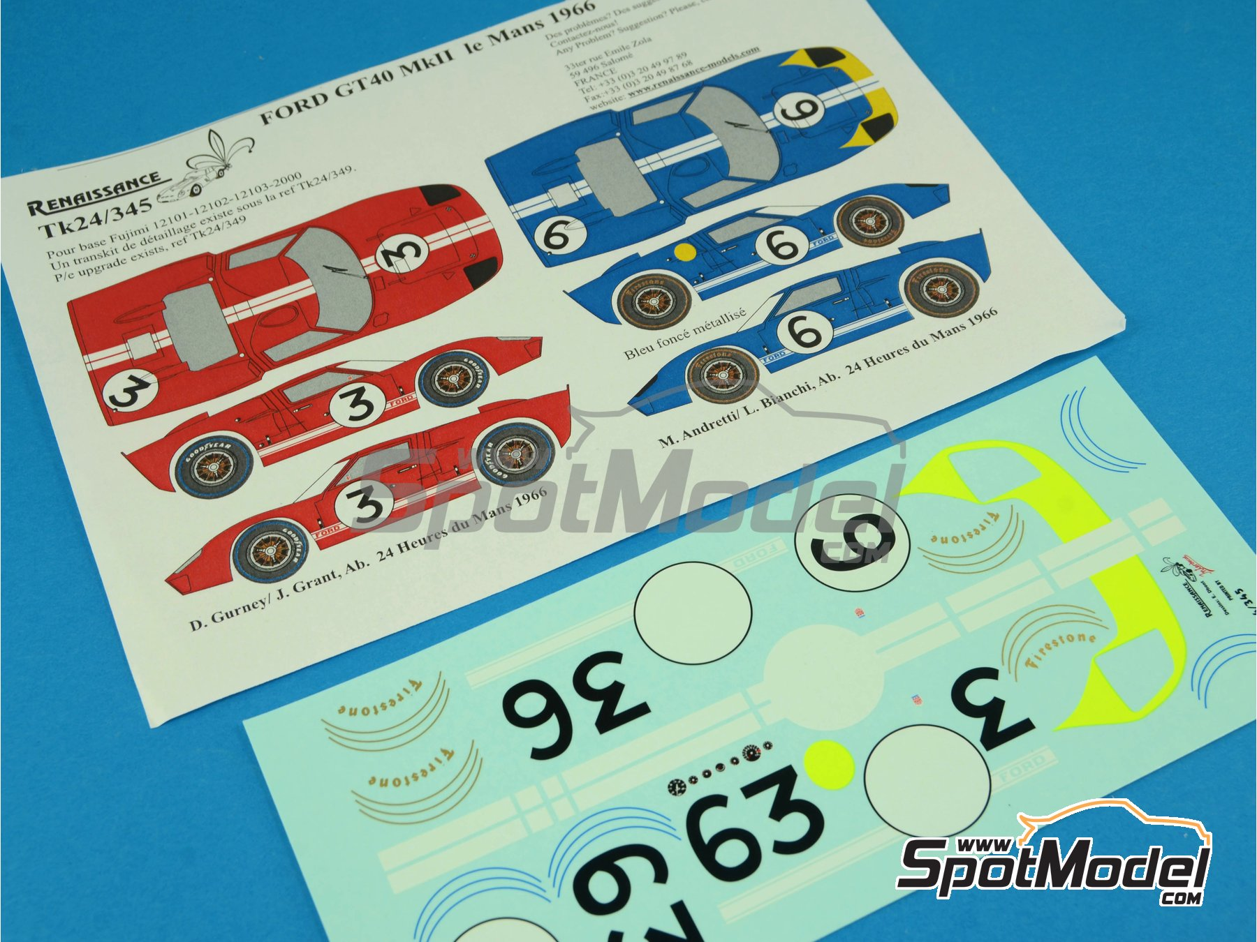 Image 6: Ford GT40 Mk II - 24 Hours Le Mans 1966 | Marking / livery in 1/24 scale manufactured by Renaissance Models (ref.TK24-345)