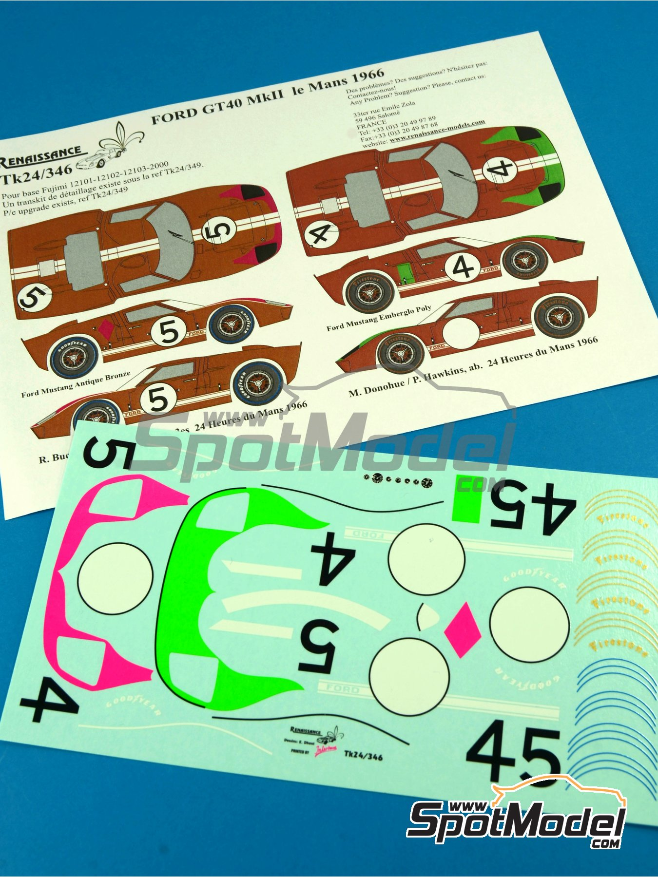 Ford GT40 Mk II - 24 Hours Le Mans 1966 | Marking / livery in 1/24 scale manufactured by Renaissance Models (ref.TK24-346) image