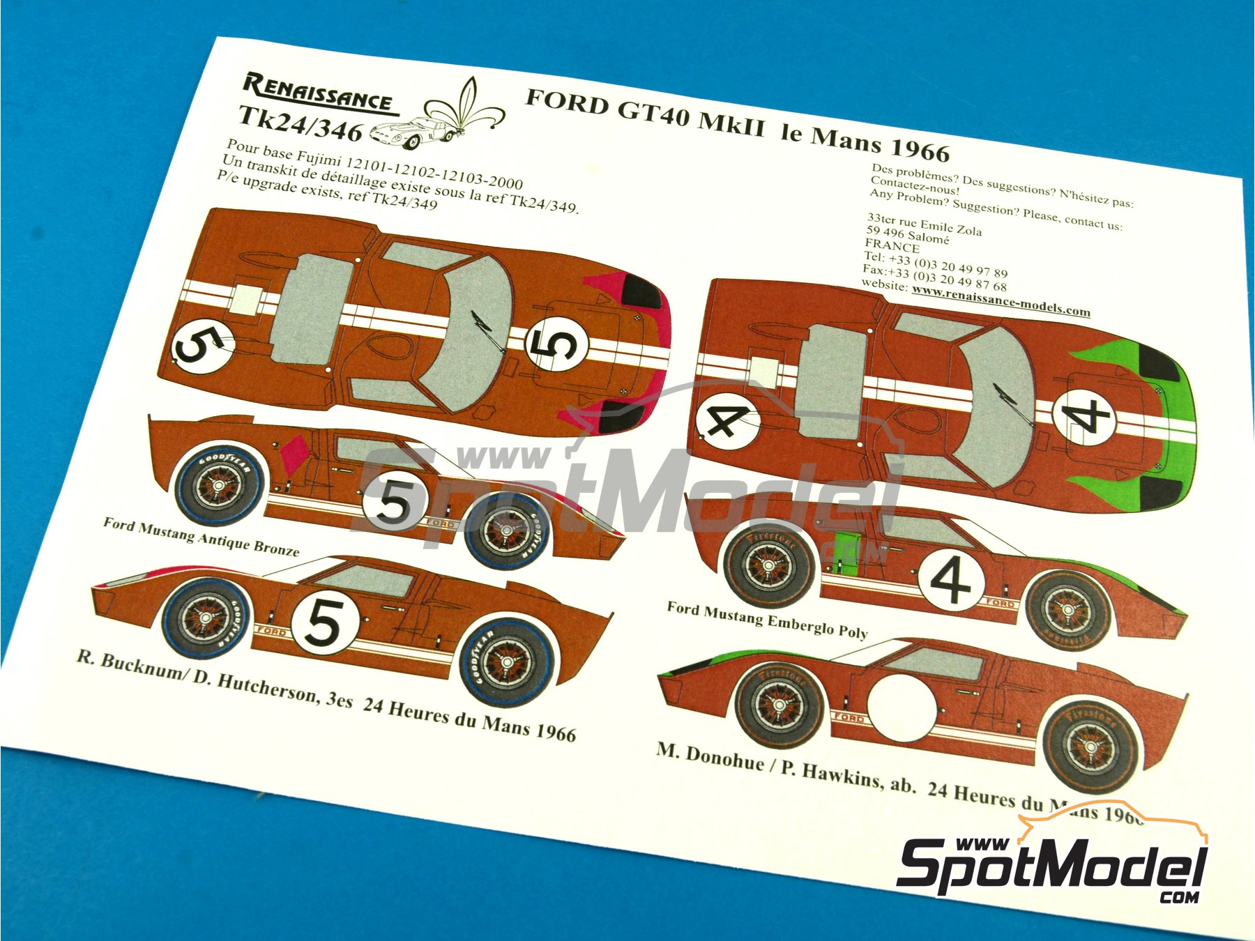 Image 1: Ford GT40 Mk II - 24 Hours Le Mans 1966 | Marking / livery in 1/24 scale manufactured by Renaissance Models (ref.TK24-346)