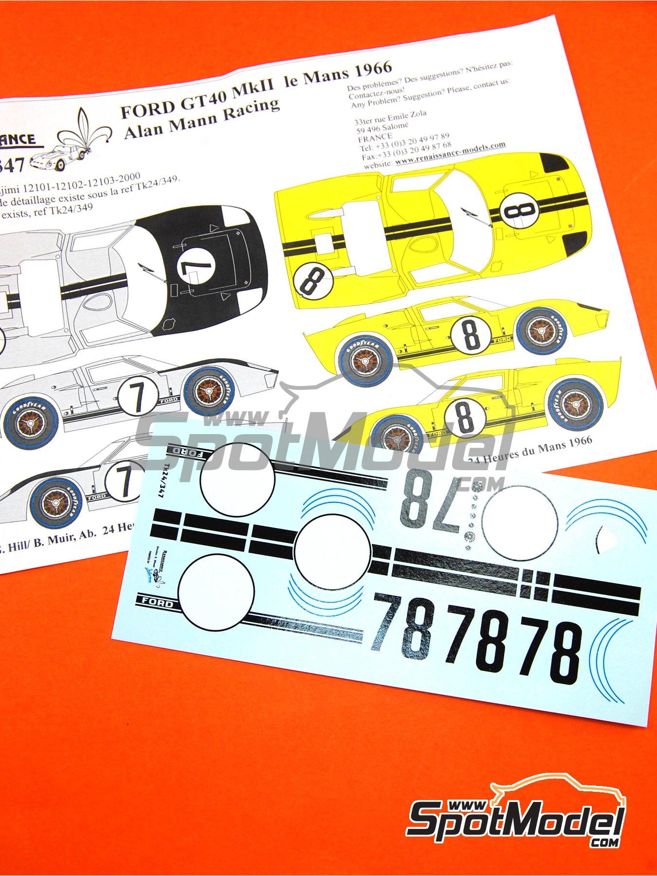 Ford GT40 Mk II Alan Mann Racing - 24 Horas de Le Mans 1966 | Decoración en escala1/24 fabricado por Renaissance Models (ref.TK24-347) image