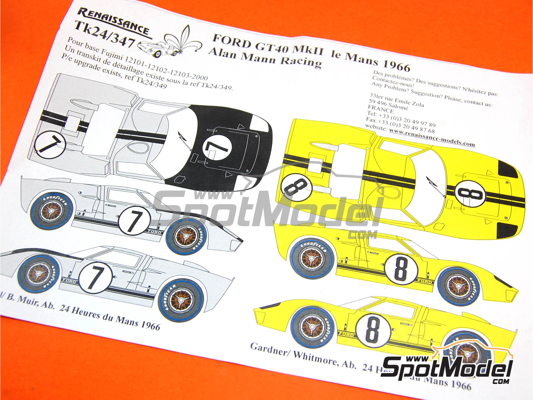 Image 1: Ford GT40 Mk II Alan Mann Racing - 24 Horas de Le Mans 1966 | Decoración en escala1/24 fabricado por Renaissance Models (ref.TK24-347)