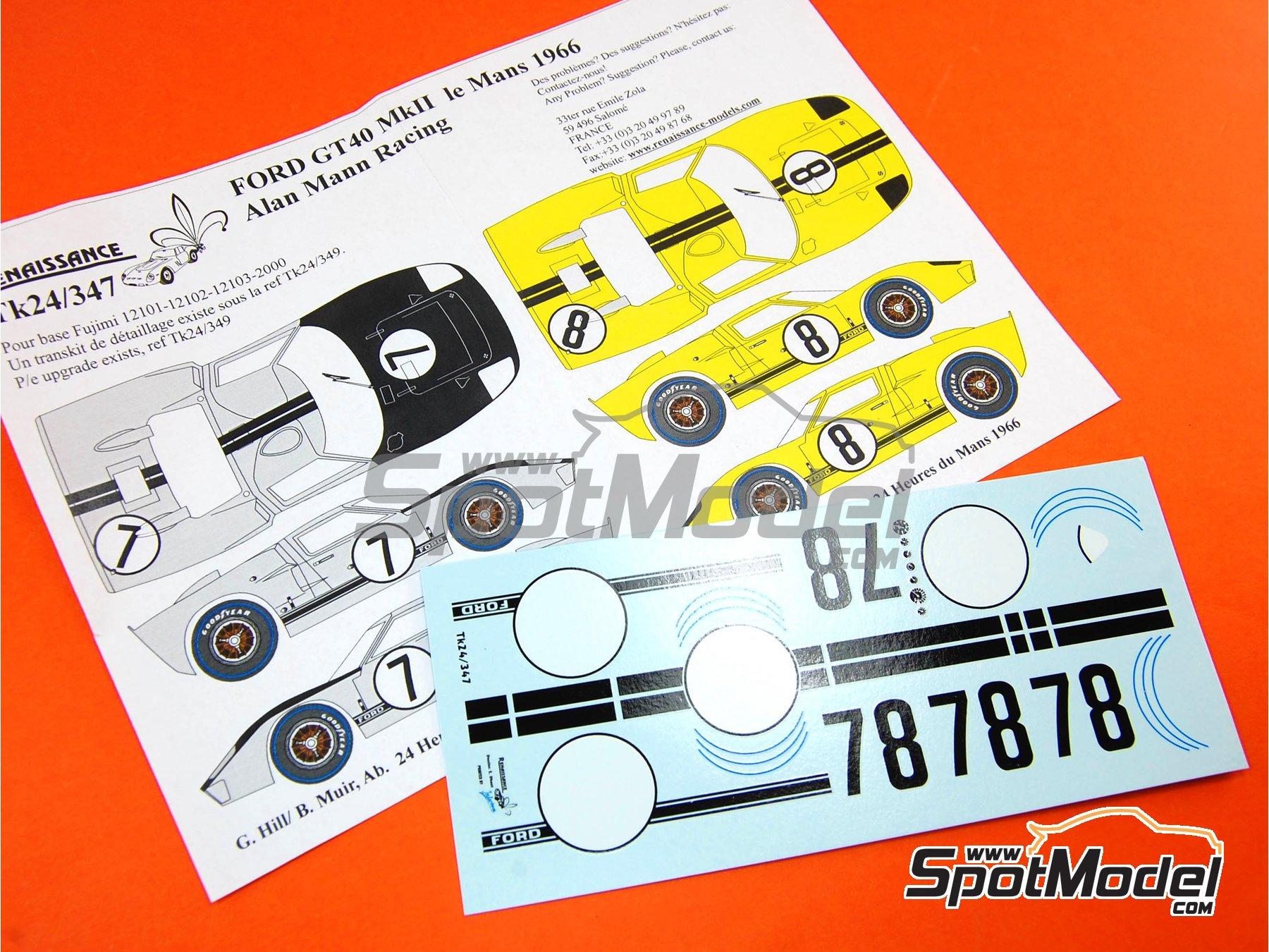 Image 4: Ford GT40 Mk II Alan Mann Racing - 24 Horas de Le Mans 1966 | Decoración en escala1/24 fabricado por Renaissance Models (ref.TK24-347)