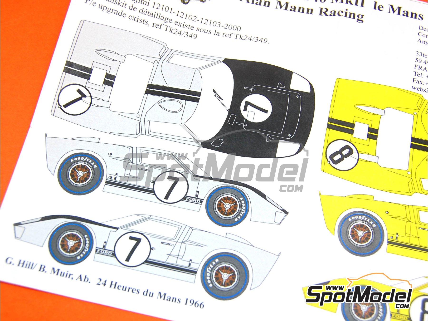 Image 5: Ford GT40 Mk II Alan Mann Racing - 24 Horas de Le Mans 1966 | Decoración en escala1/24 fabricado por Renaissance Models (ref.TK24-347)