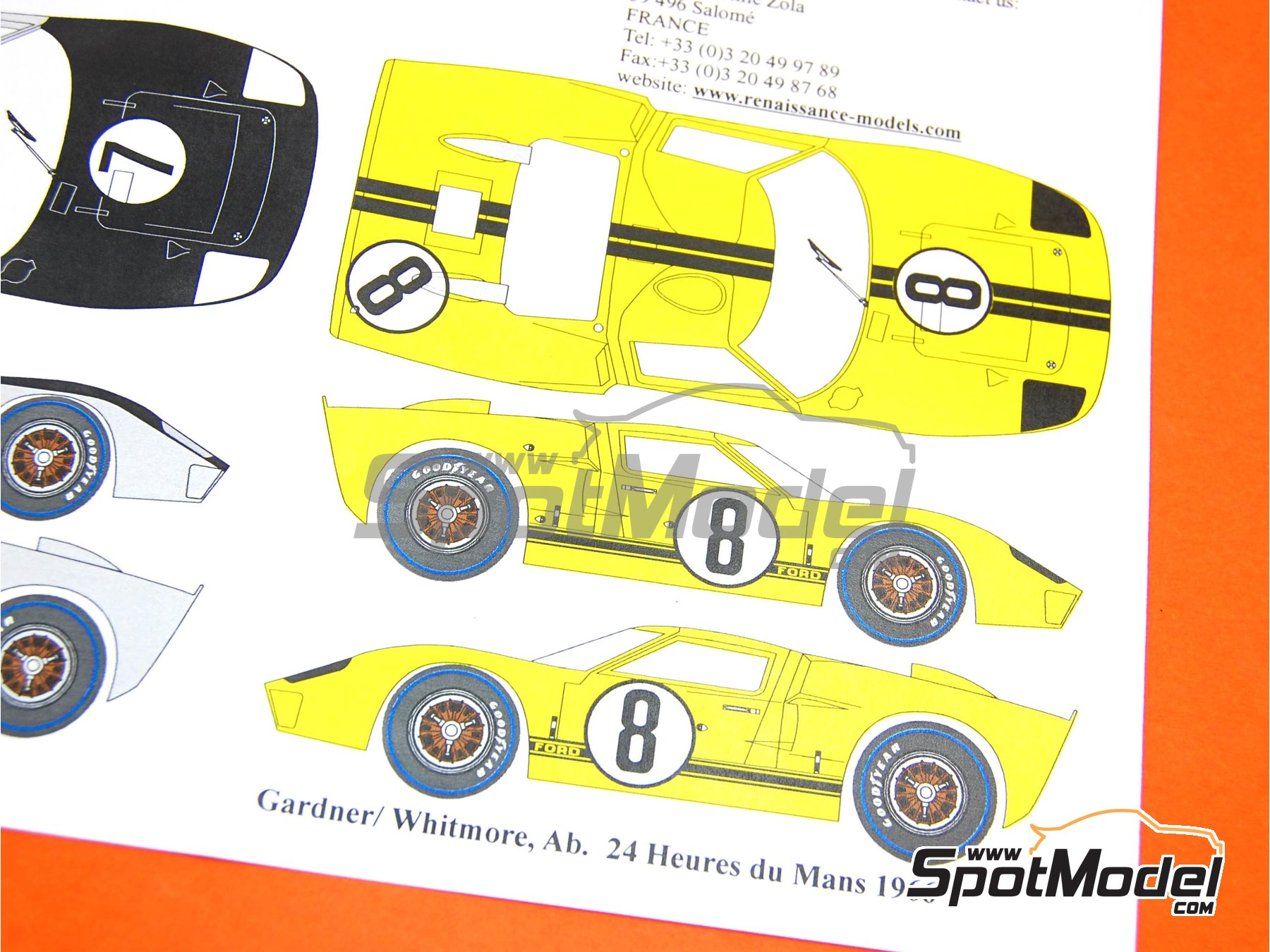 Image 6: Ford GT40 Mk II Alan Mann Racing - 24 Horas de Le Mans 1966 | Decoración en escala1/24 fabricado por Renaissance Models (ref.TK24-347)