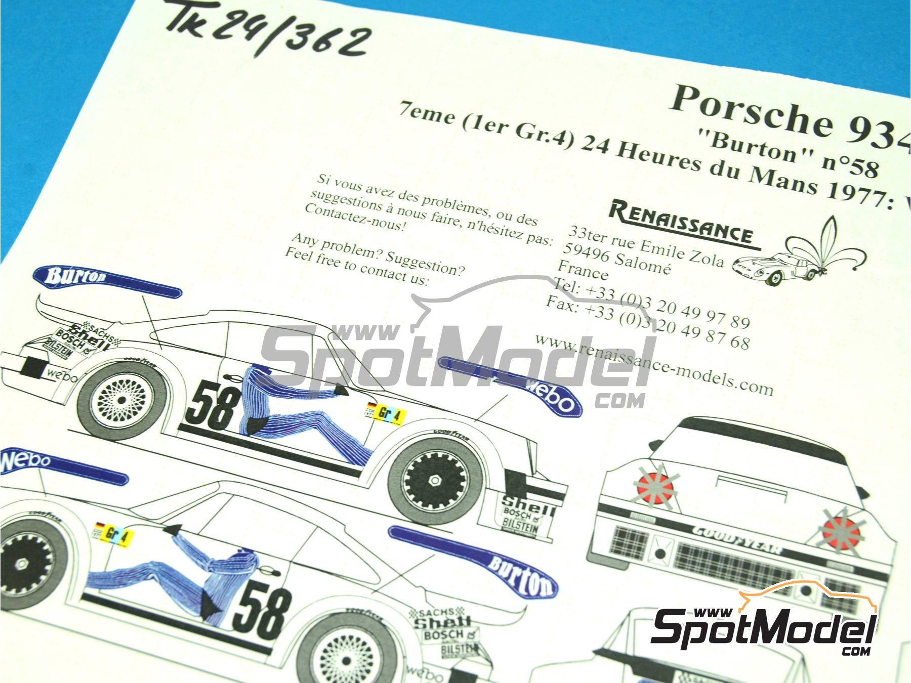 Image 1: Porsche 934 Turbo RSR Group 4 Burton Kremer - 24 Hours Le Mans 1977   Marking / livery in 1/24 scale manufactured by Renaissance Models (ref.TK24-362)