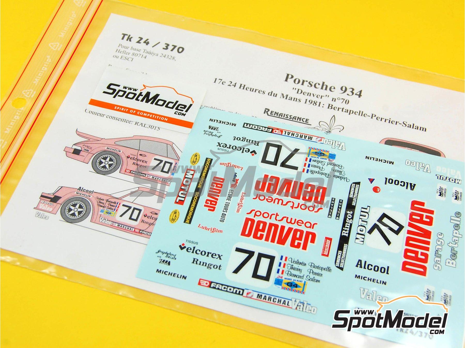 Image 1: Porsche 934 Turbo RSR Group 4 Denver Spotwear - 24 Hours Le Mans 1981   Marking / livery in 1/24 scale manufactured by Renaissance Models (ref.TK24-370)