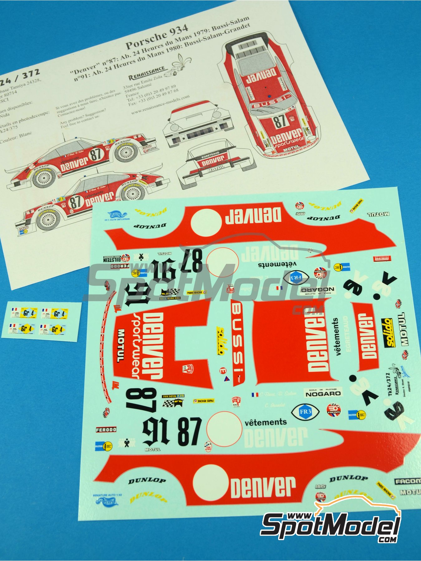 Porsche 934 Turbo RSR Group 4 Denver - 24 Hours Le Mans 1979 and 1980 | Marking / livery in 1/24 scale manufactured by Renaissance Models (ref.TK24-372) image