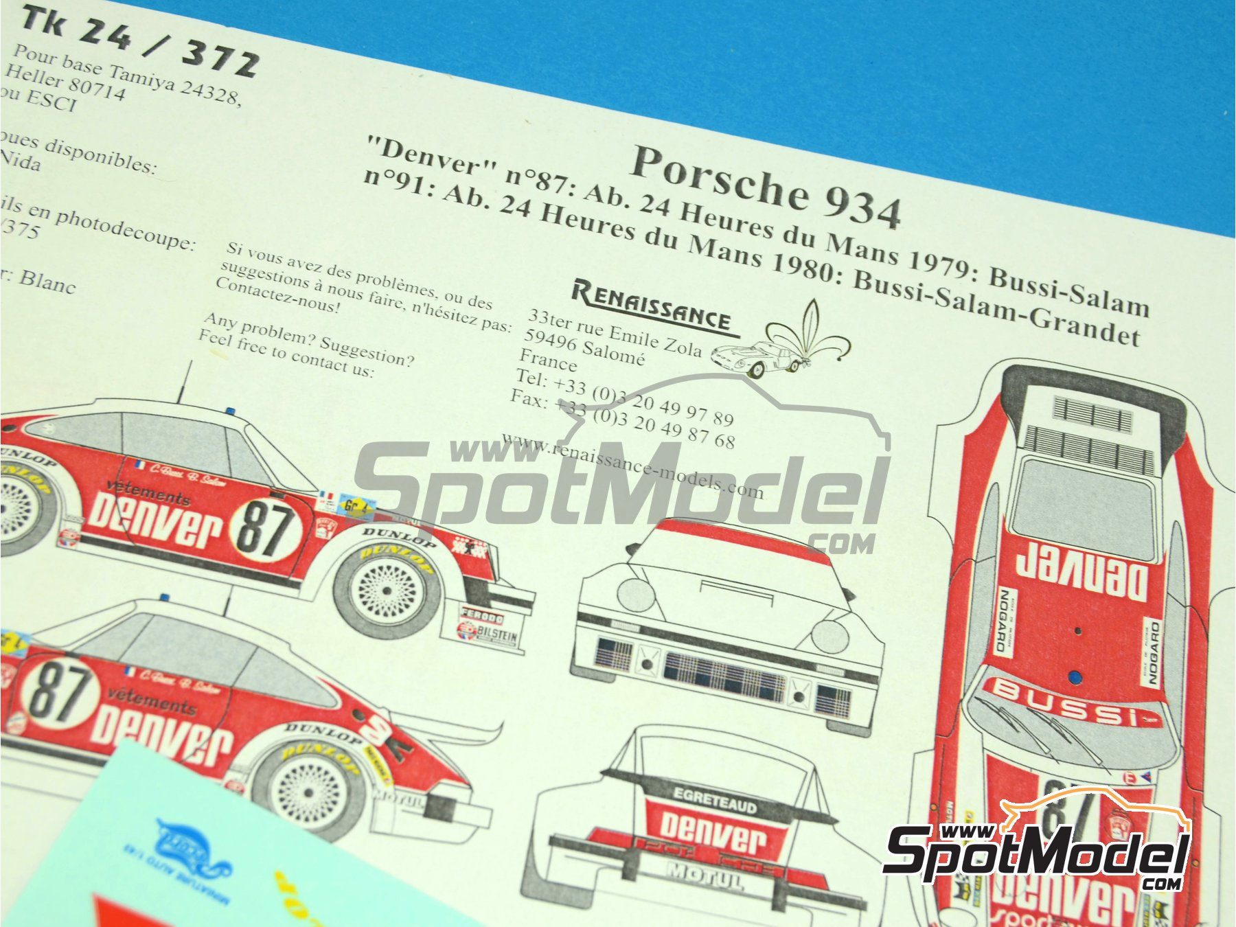 Image 1: Porsche 934 Turbo RSR Group 4 Denver - 24 Hours Le Mans 1979 and 1980 | Marking / livery in 1/24 scale manufactured by Renaissance Models (ref.TK24-372)